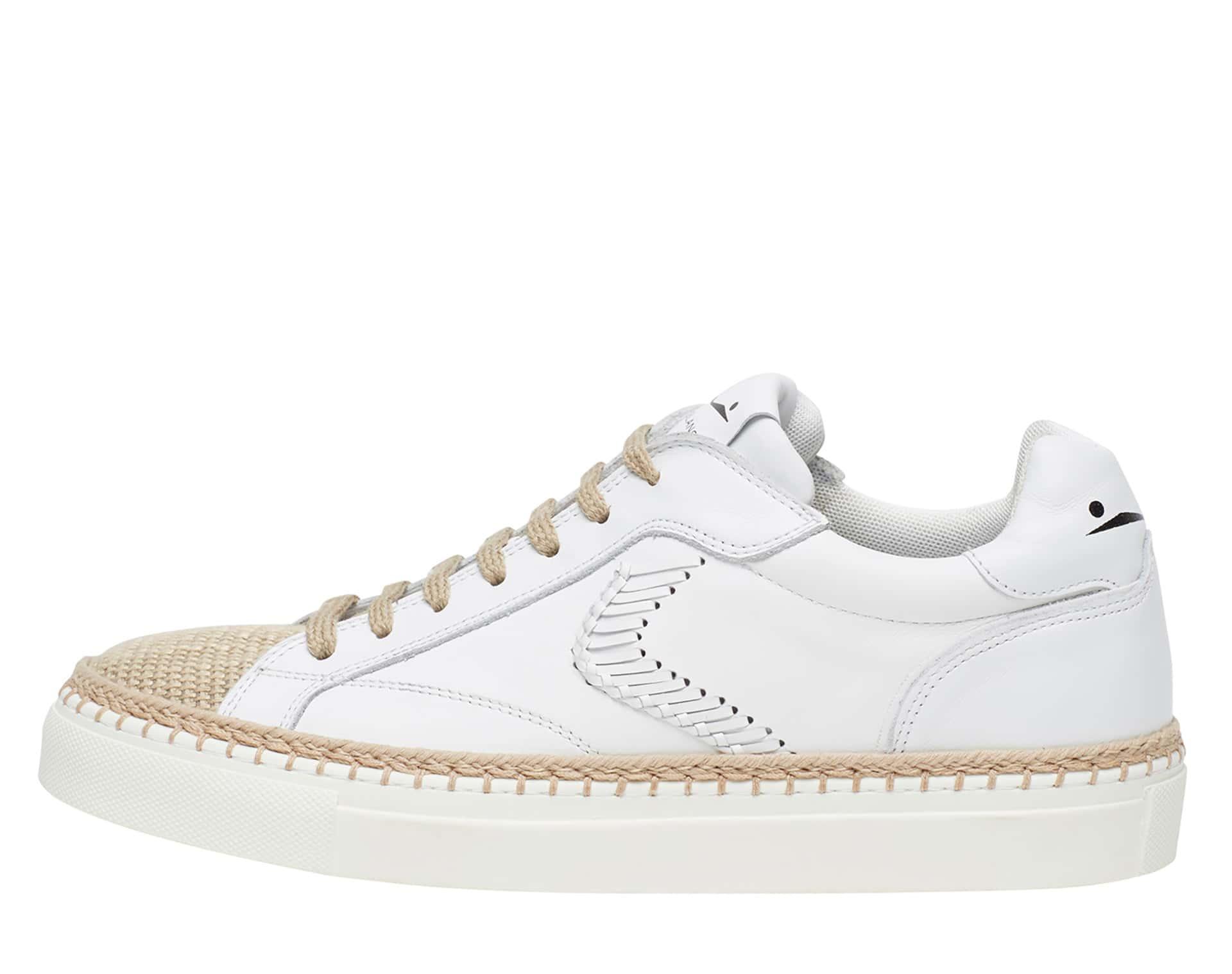 PORTOFINO BRAID - Leather and jute sneakers - White