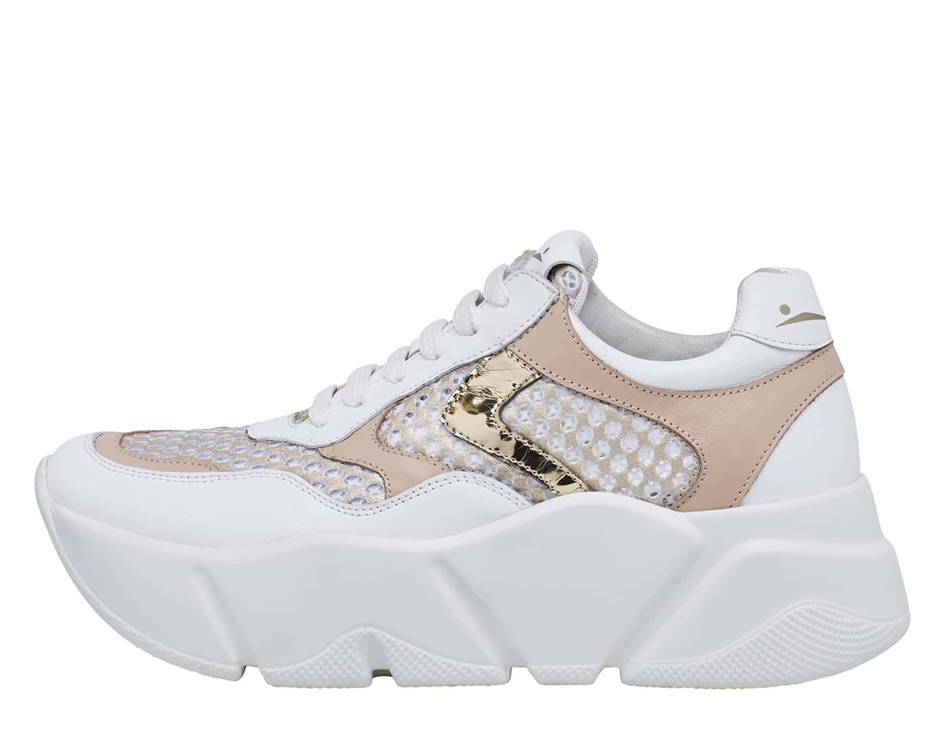 MONSTER MESH - Leather and mesh sneakers - White/Platinum