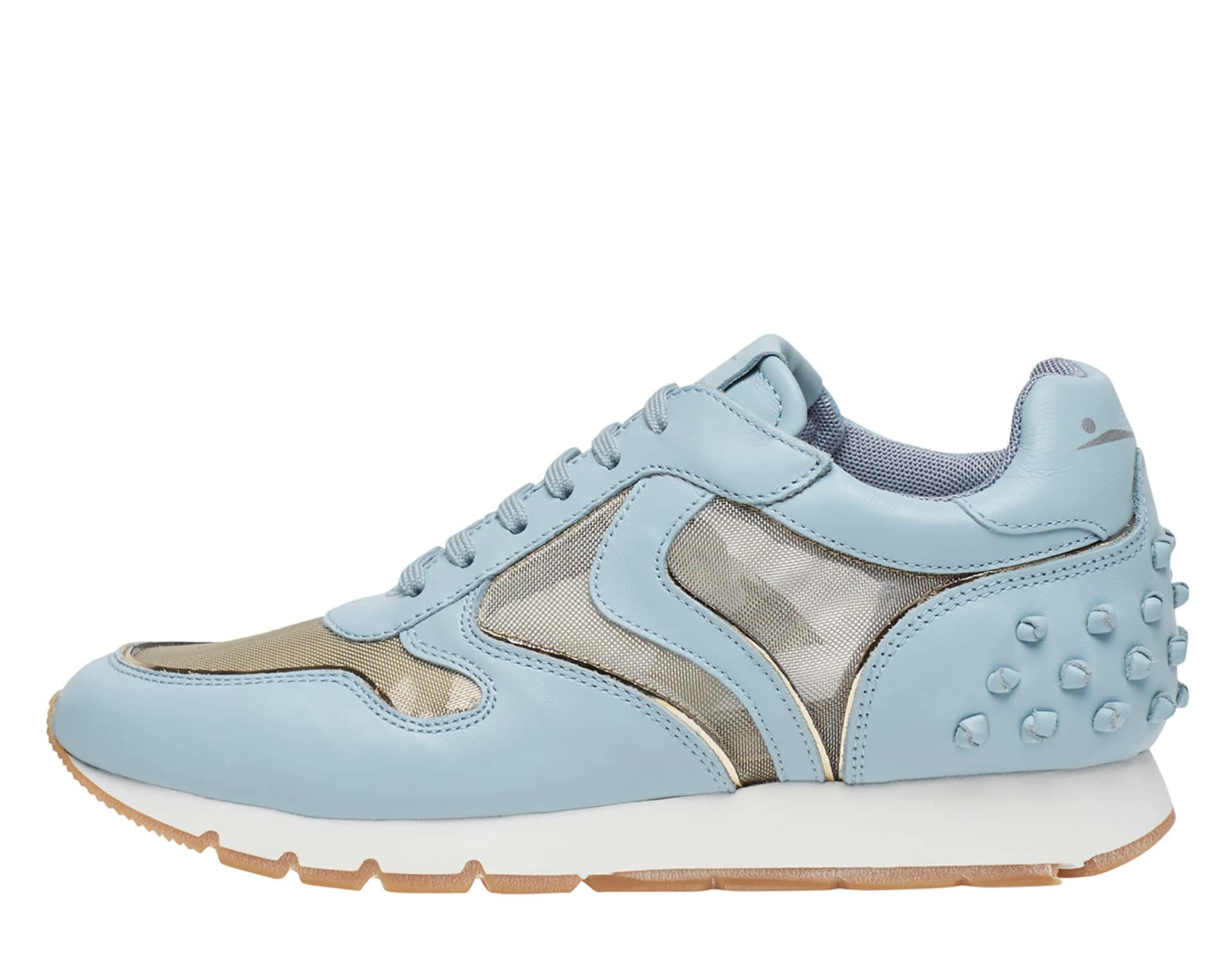JULIA TULLY - Leather and mesh sneakers - Light Blue