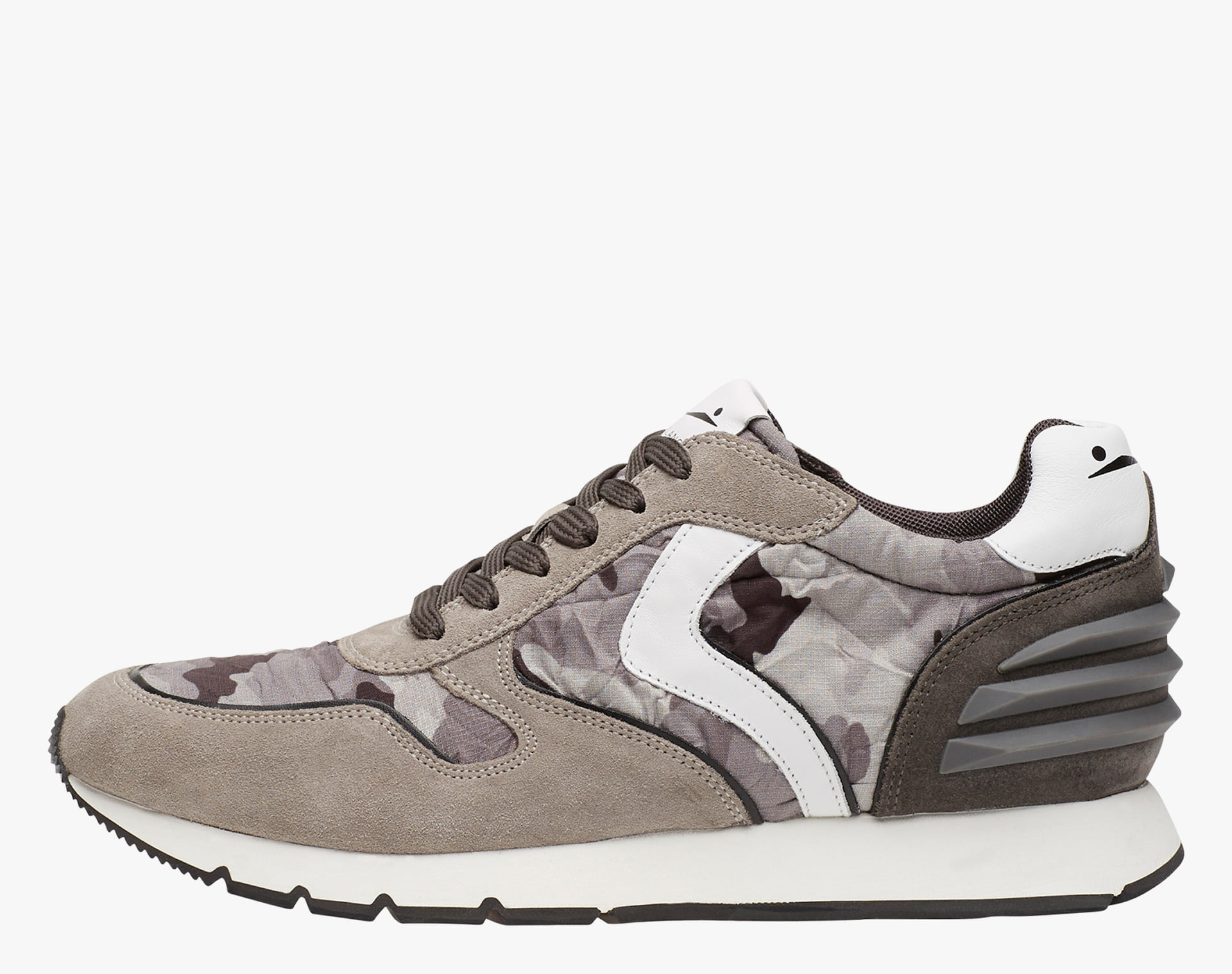 LIAM POWER - Leather sneakers - Grey-White-Charcoal Grey