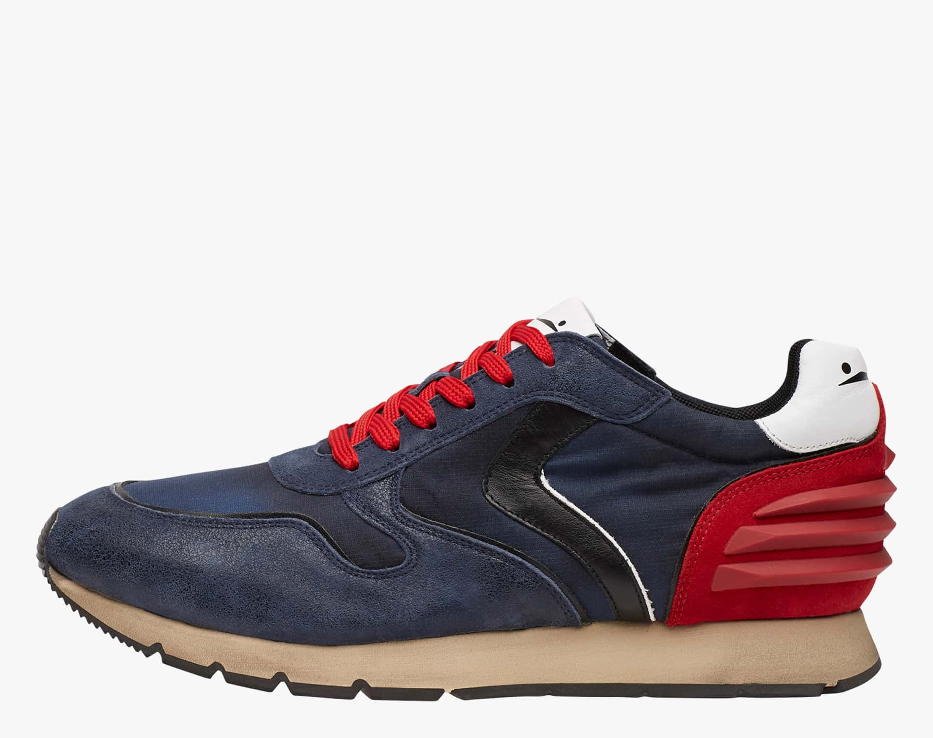 LIAM POWER - Sneakers in leather - Dark Blue-Black-Red