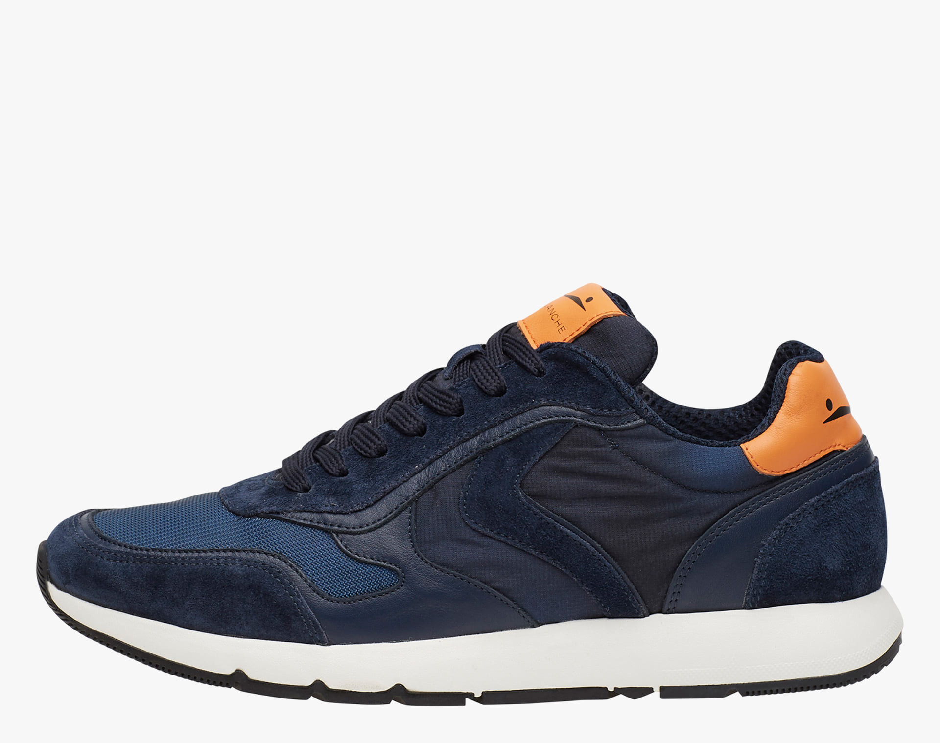 REUBENT - Sneakers in leather and nylon - Blue-Orange