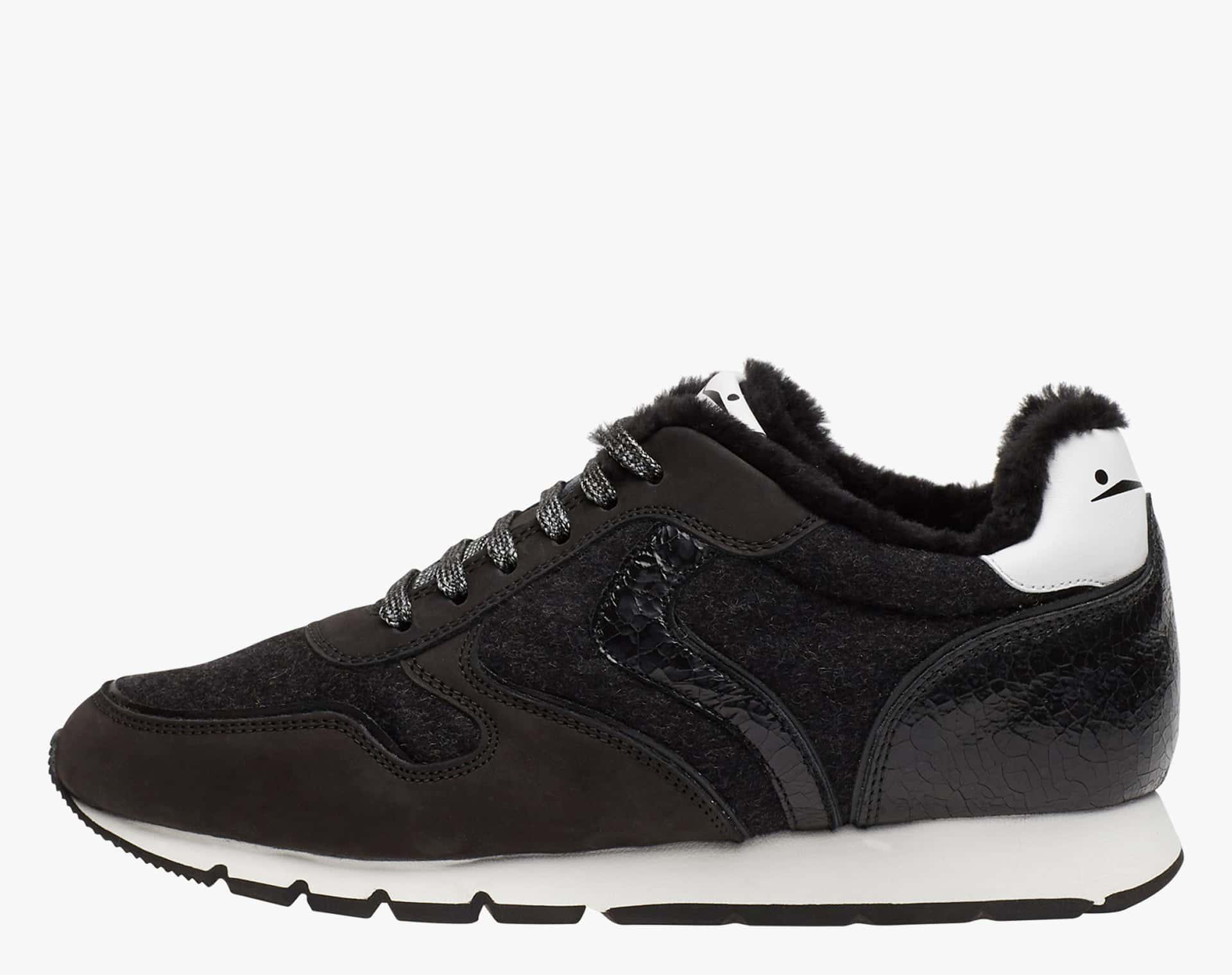 JULIA FUR - Nubuck sneakers - BLACK-WHITE