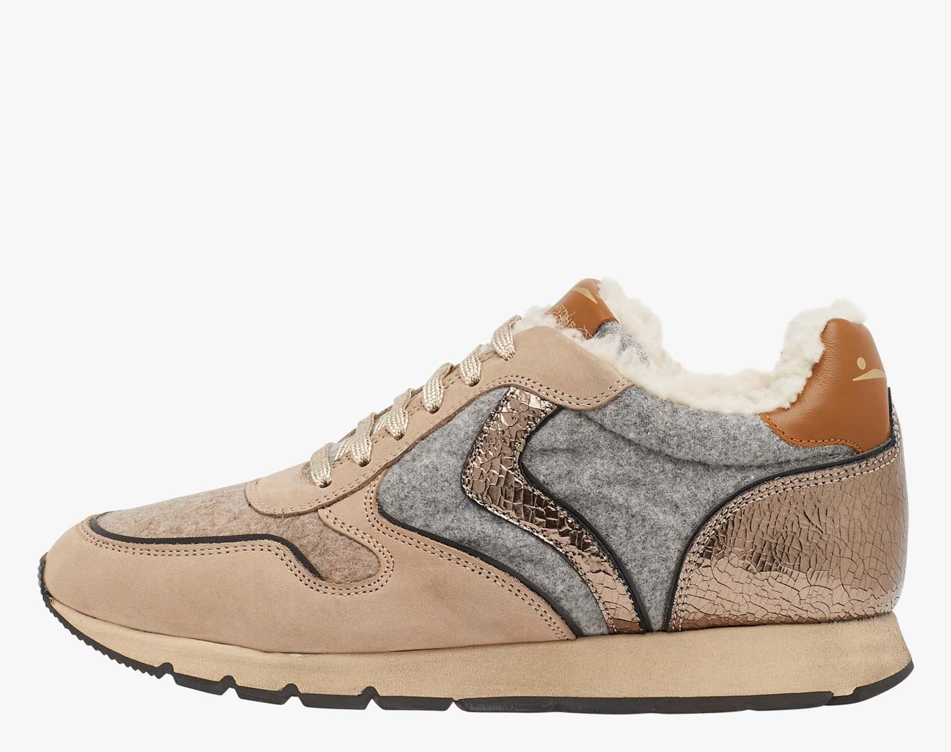 JULIA FUR - Sneakers in leather and felt - Beige-Grey-Bronze