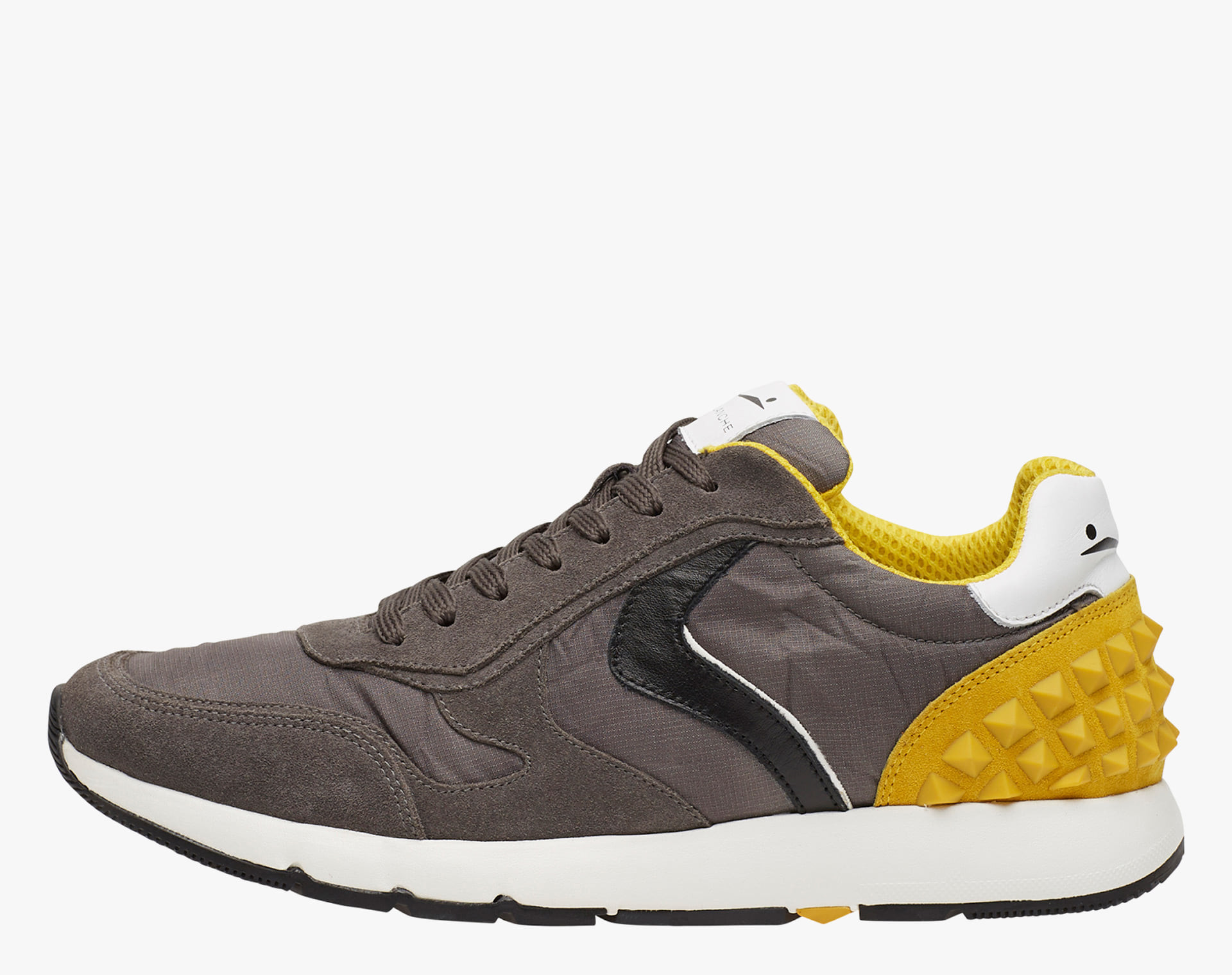 REUBENT STUDS - Sneakers in leather and nylon - Charcoal Grey-Black-Yellow