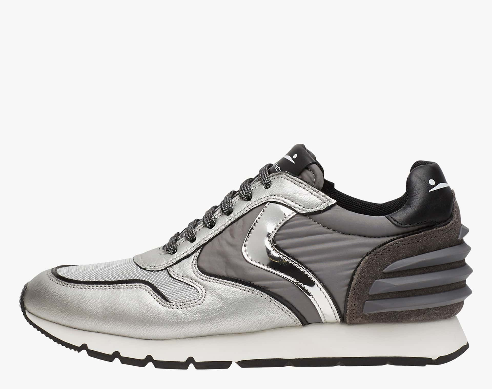 JULIA POWER - Sneakers in leather and nylon - SILVER-CHARCOAL GREY