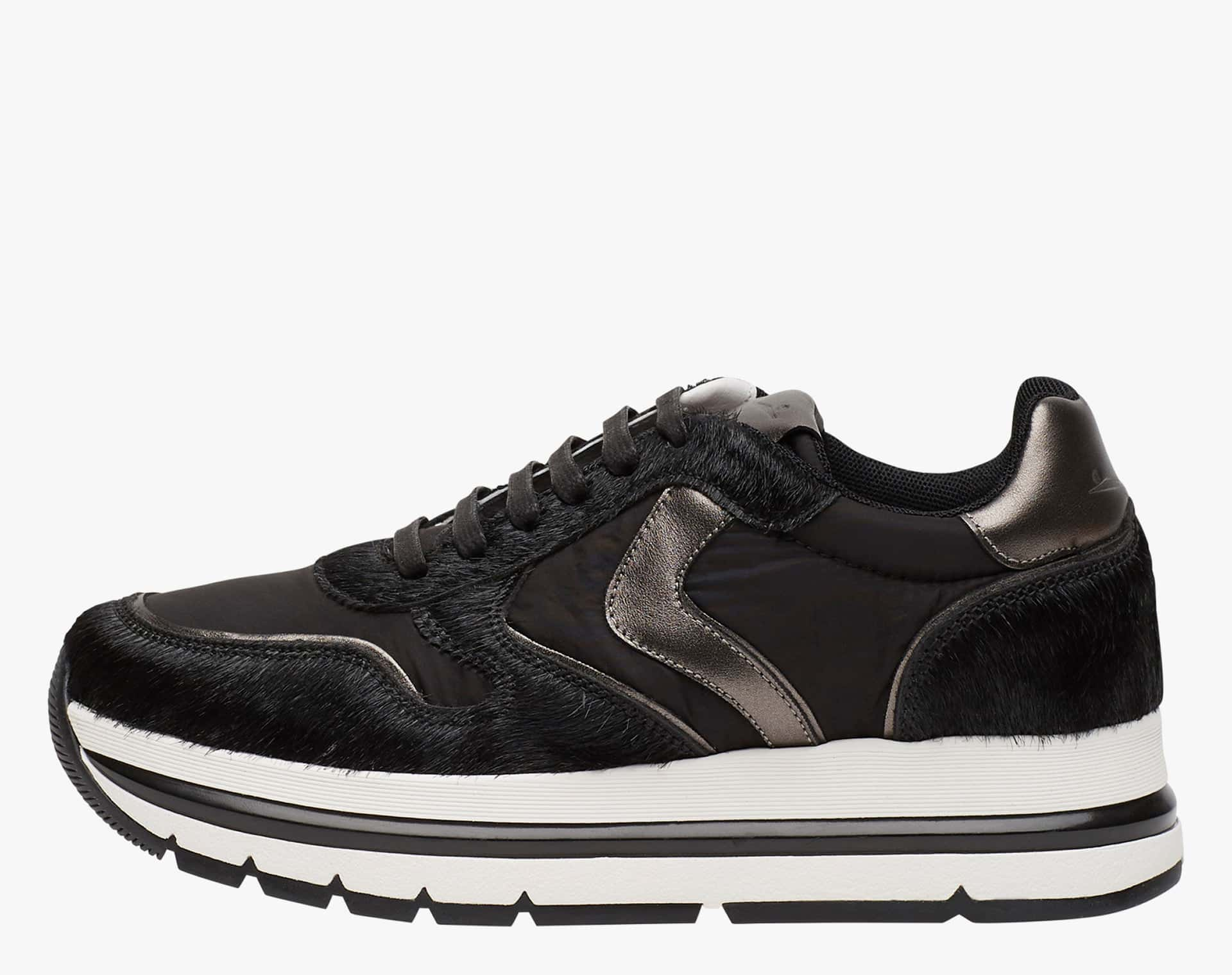 APRILLE - Sneakers in leather and laminate - BLACK-STEEL