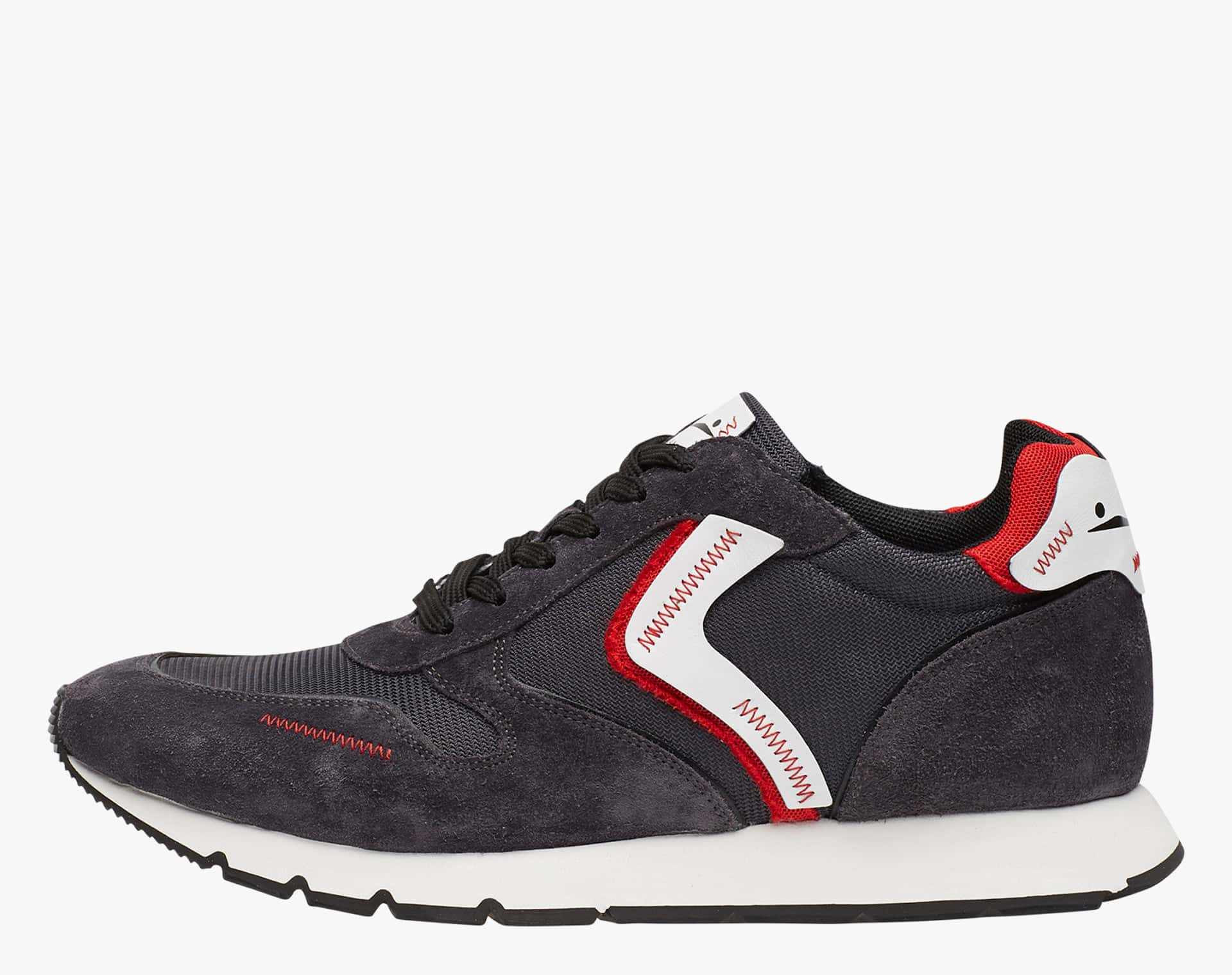 LIAM UNFINISHED - Sneakers in leather and Cordura - CHARCOAL GREY-RED