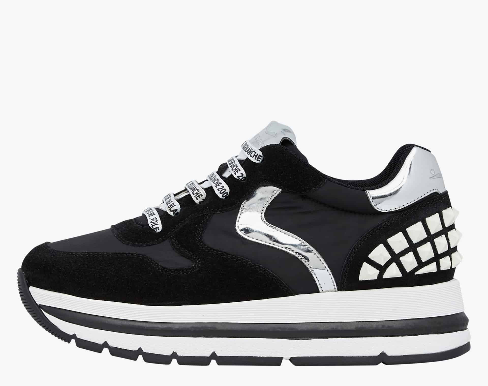 MARAN STUDS - Sneakers in leather and nylon - Black-White