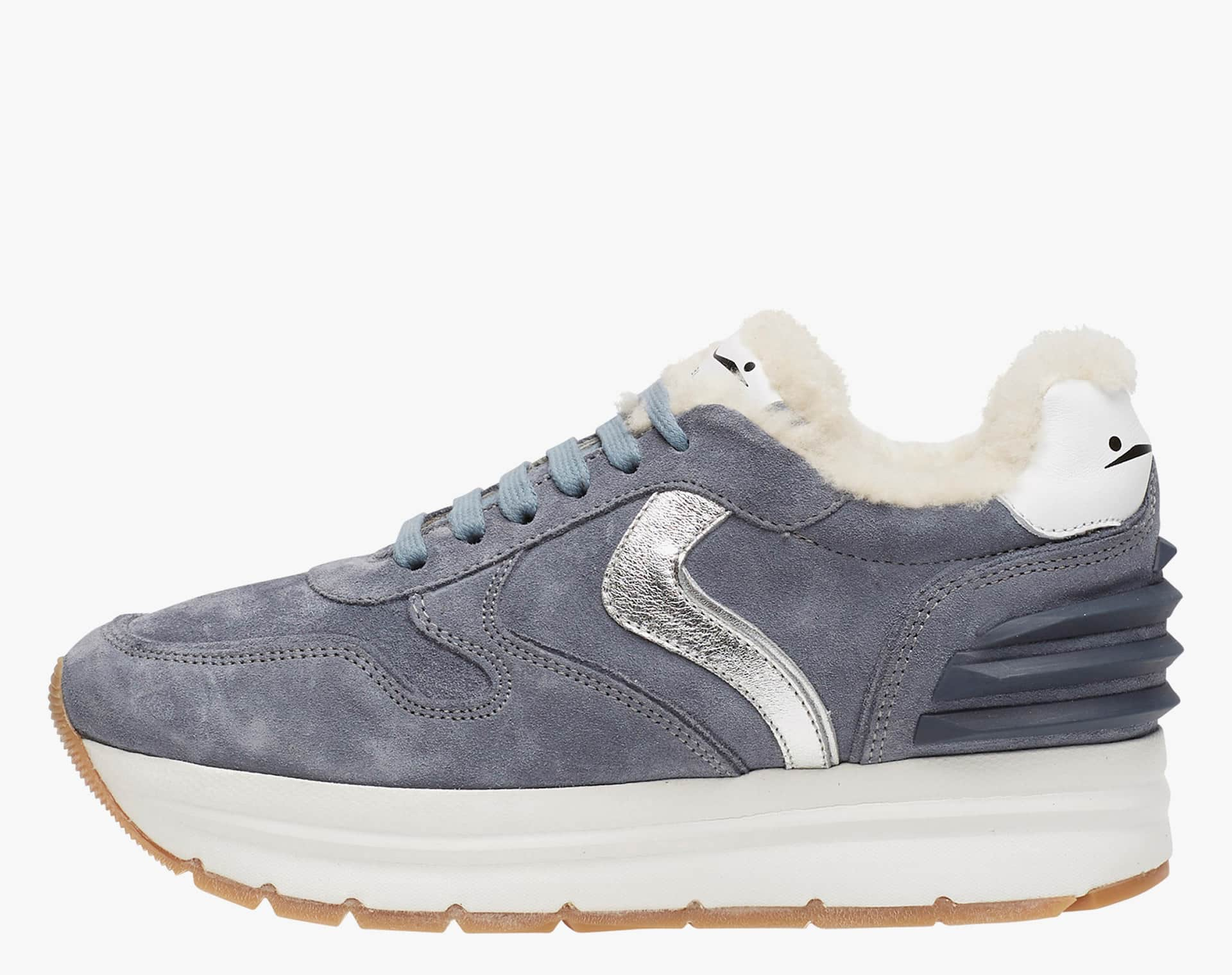 MAY POWER FUR - Sneakers in leather and laminate - LIGHT BLUE-SILVER