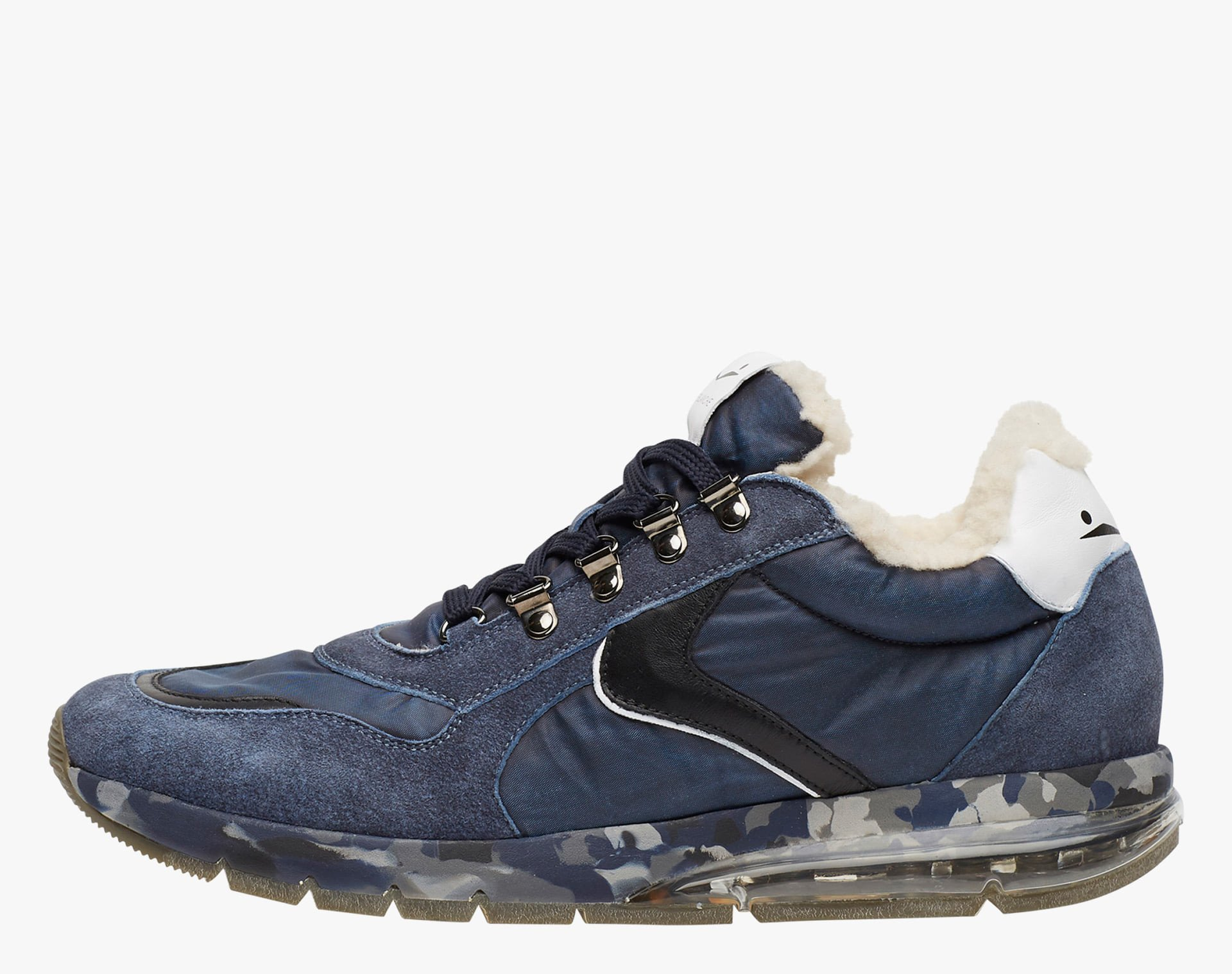 NEW LENNY HOOK FUR - Sneakers in leather and nylon - Blue-Black