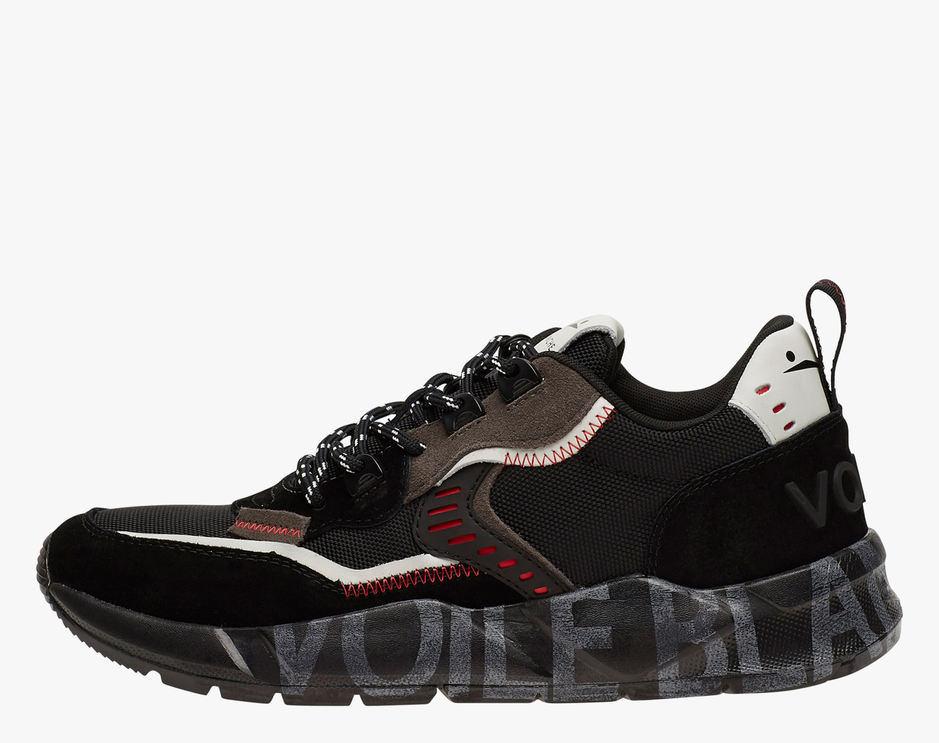 CLUB01 - Sneakers in leather and Cordura - Black