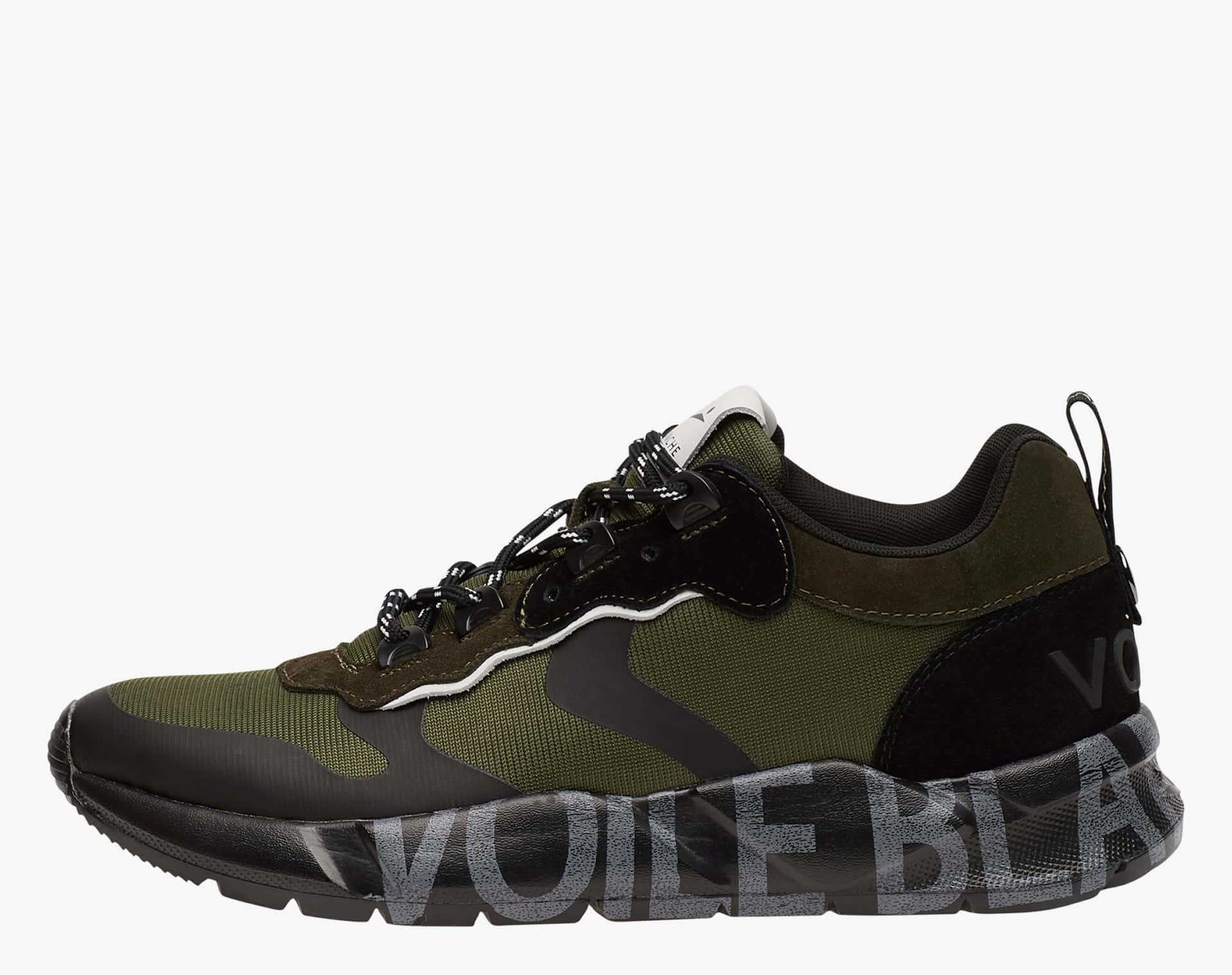 CLUB02 - Sneakers in leather and Cordura - Black-Military Green