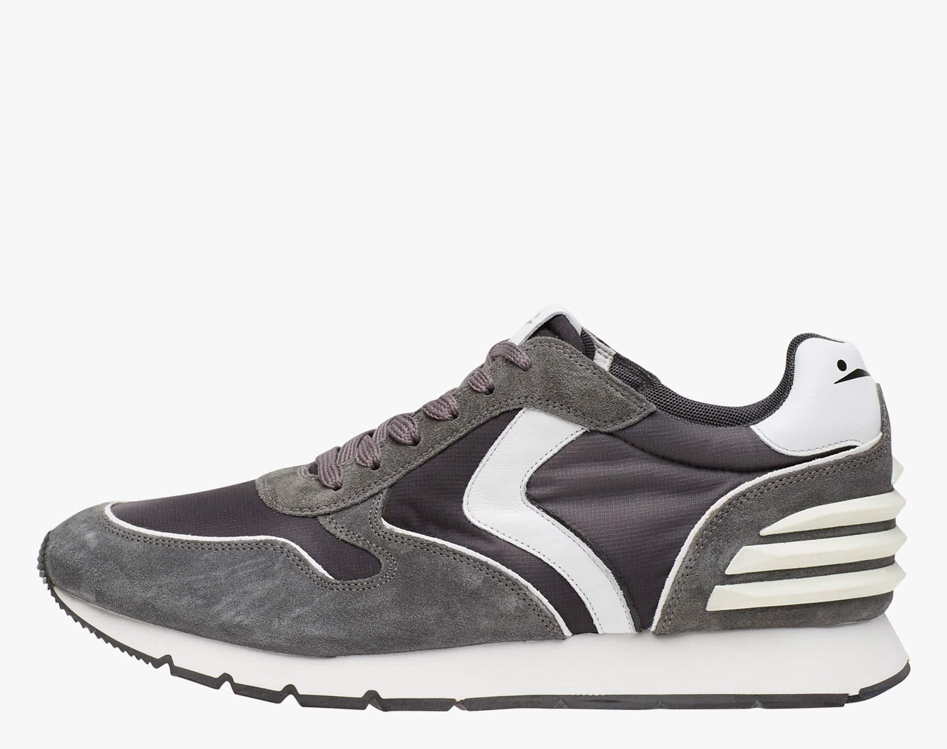 LIAM POWER - Suede and technical fabric sneakers - Grey/White