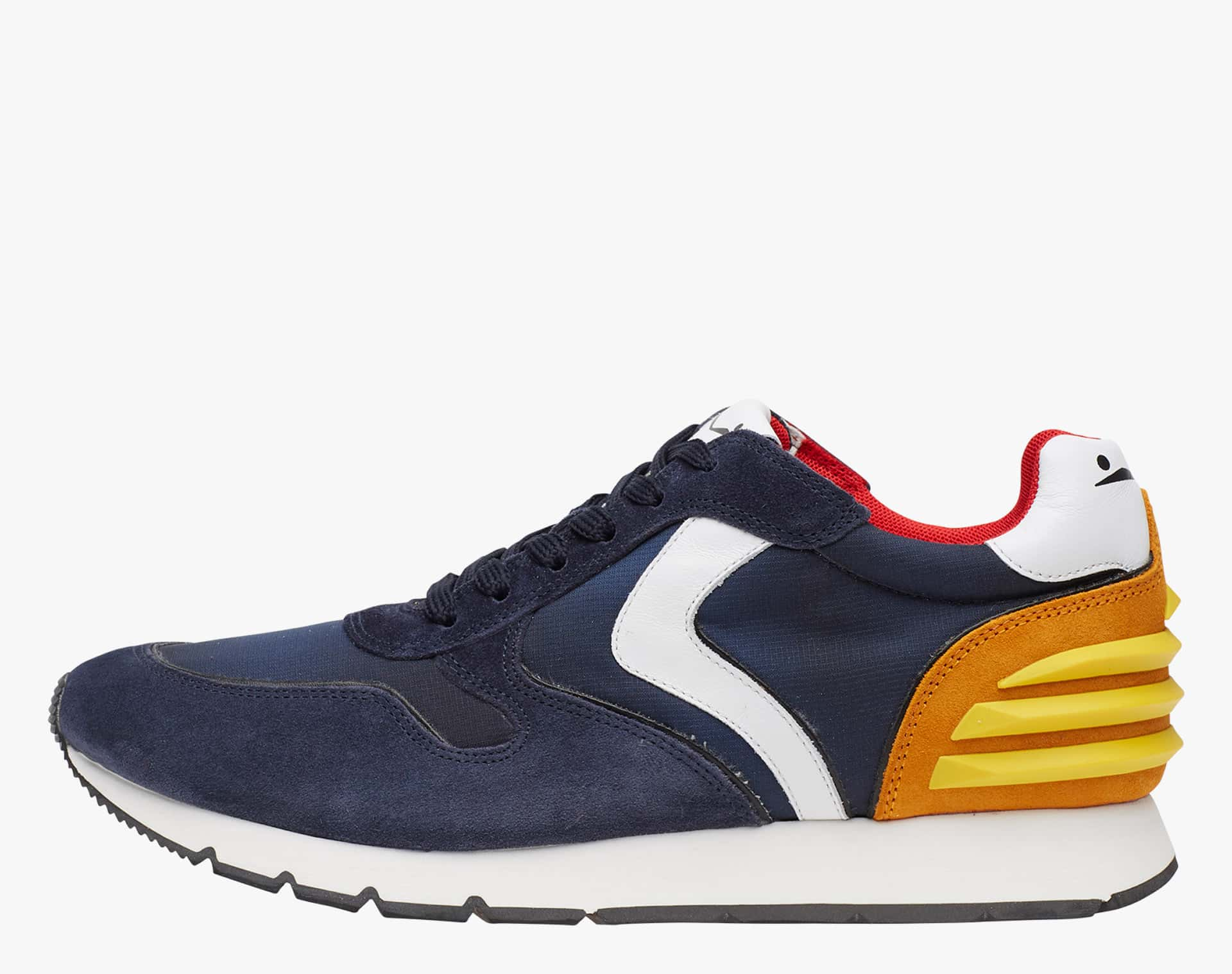 LIAM POWER - Suede and technical fabric sneakers - Blue/Orange