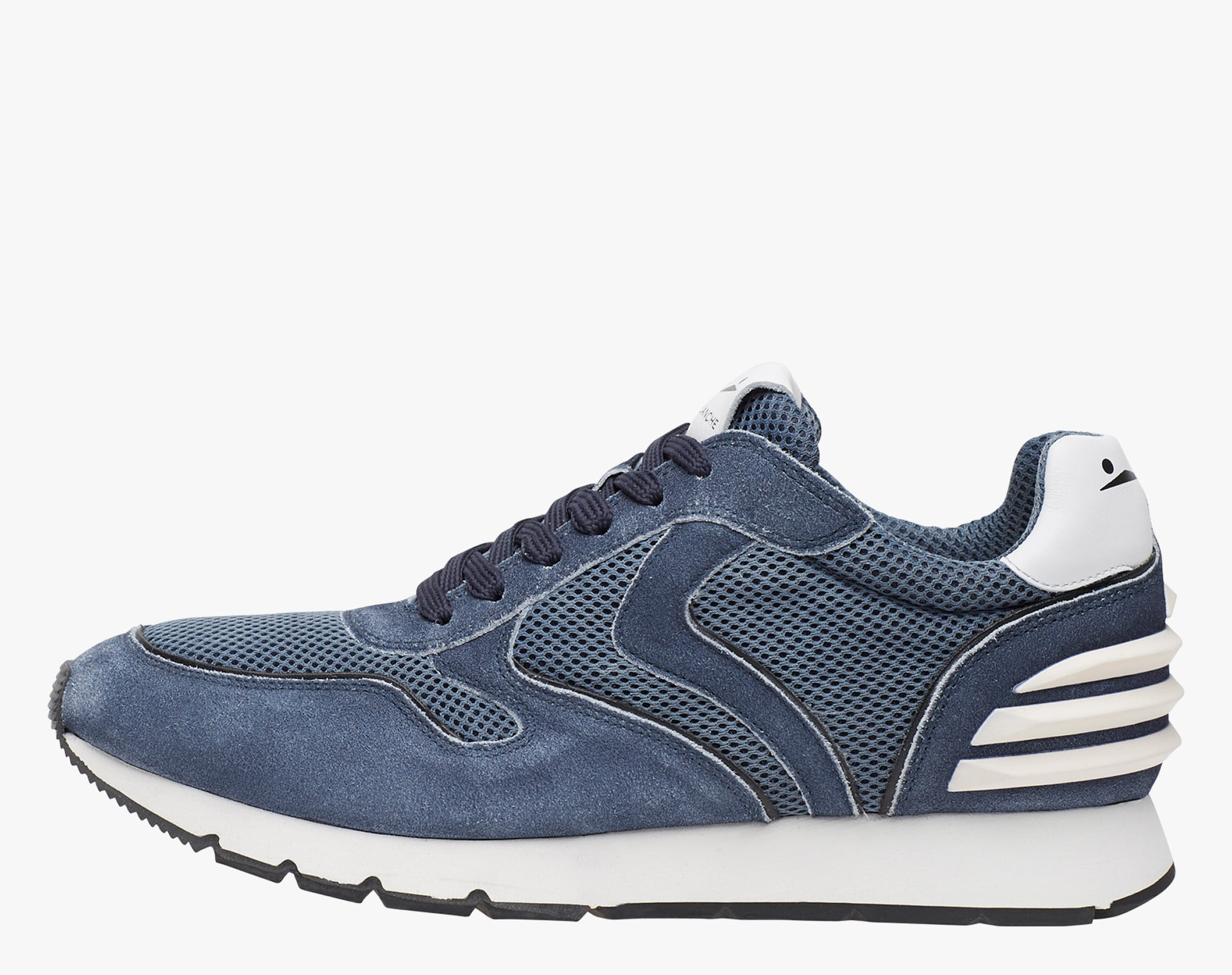 LIAM POWER - Suede and technical fabric sneakers - Blue