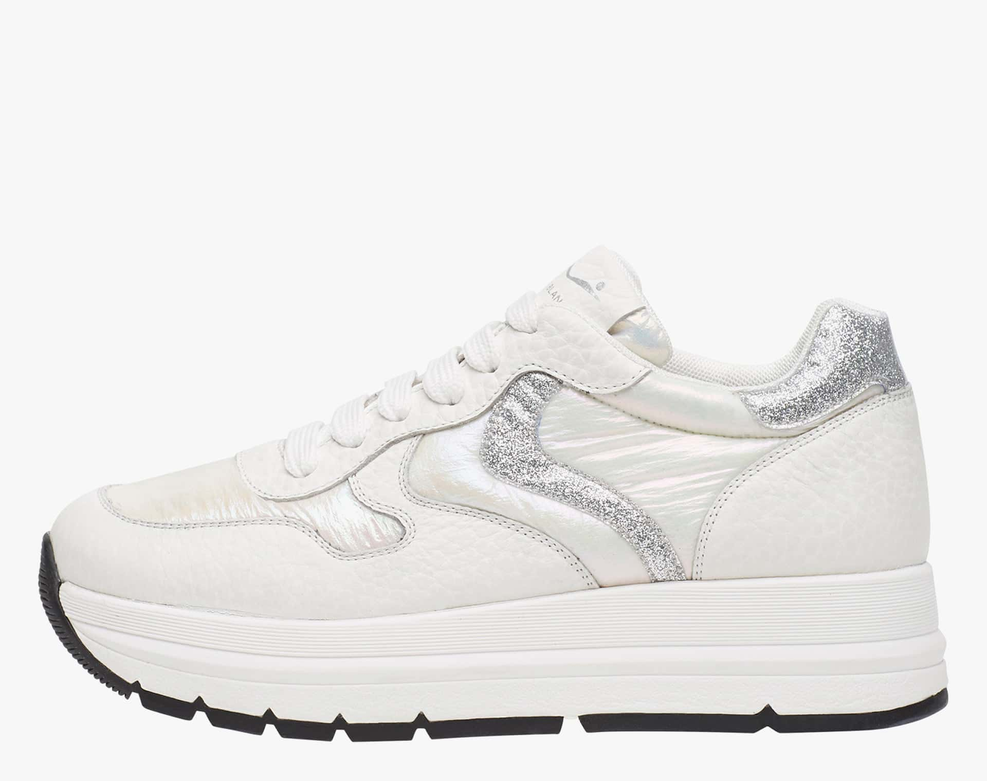 MARAN - Calfskin sneakers with glossy inserts - White/Silver