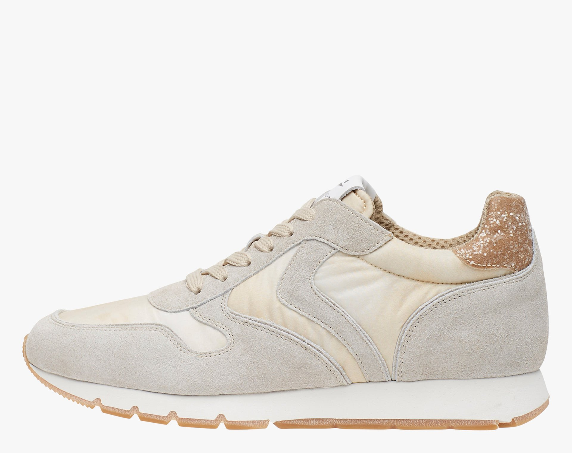 JULIA - Faded suede and technical fabric sneakers - Sand