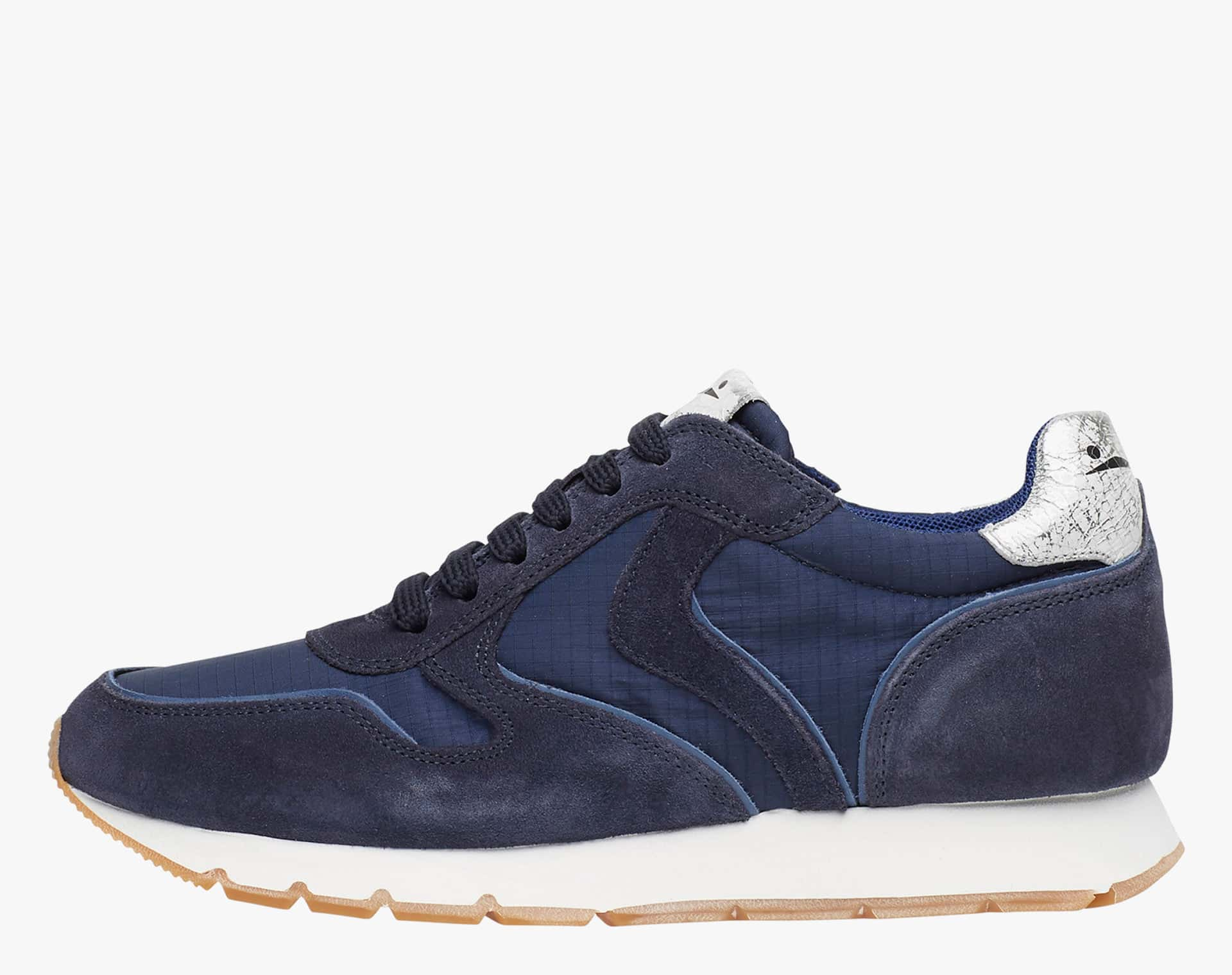 JULIA - Faded suede and technical fabric sneakers - Blue