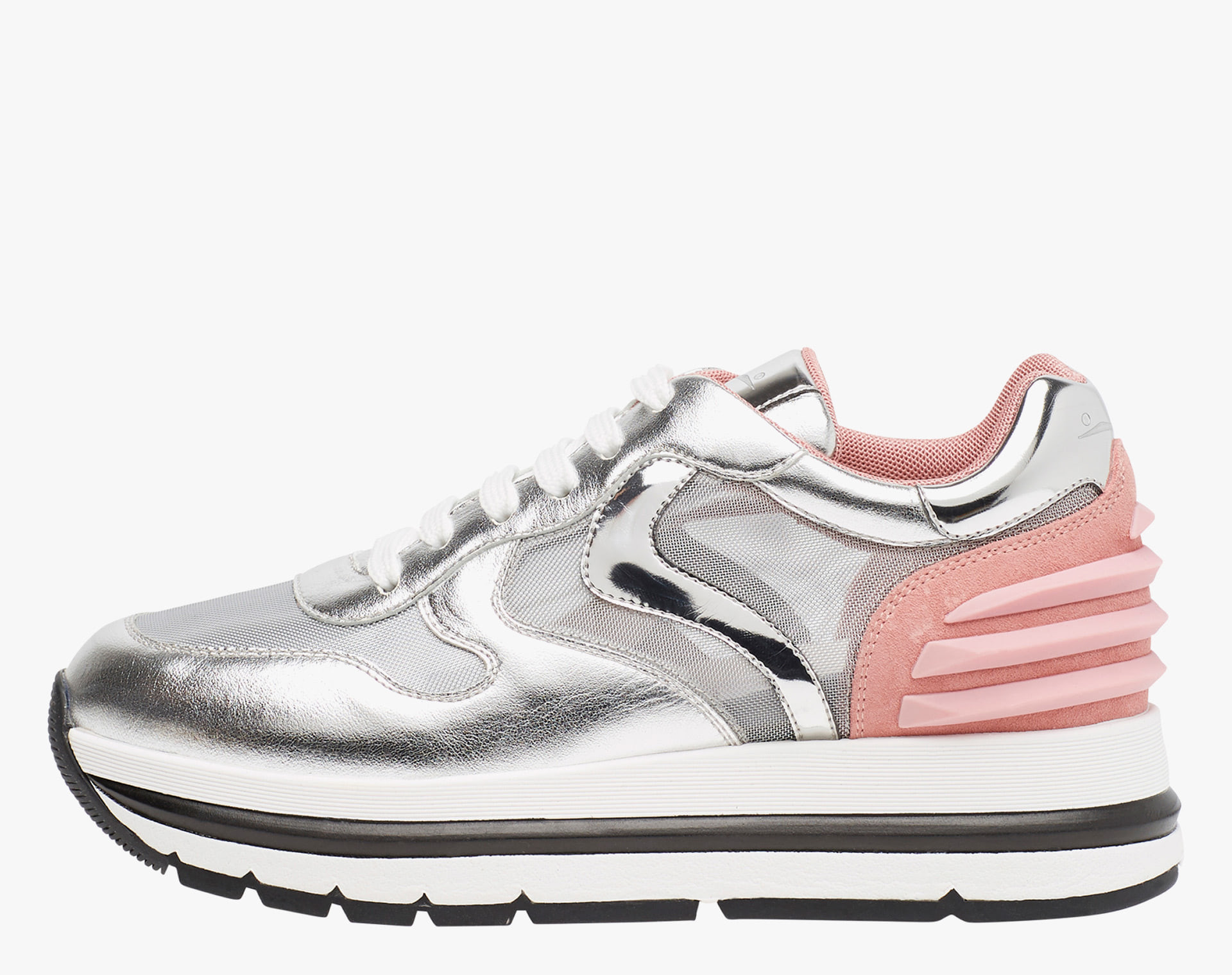 MARAN POWER MESH - Laminated nappa leather and micro mesh sneakers - Silver/Pink