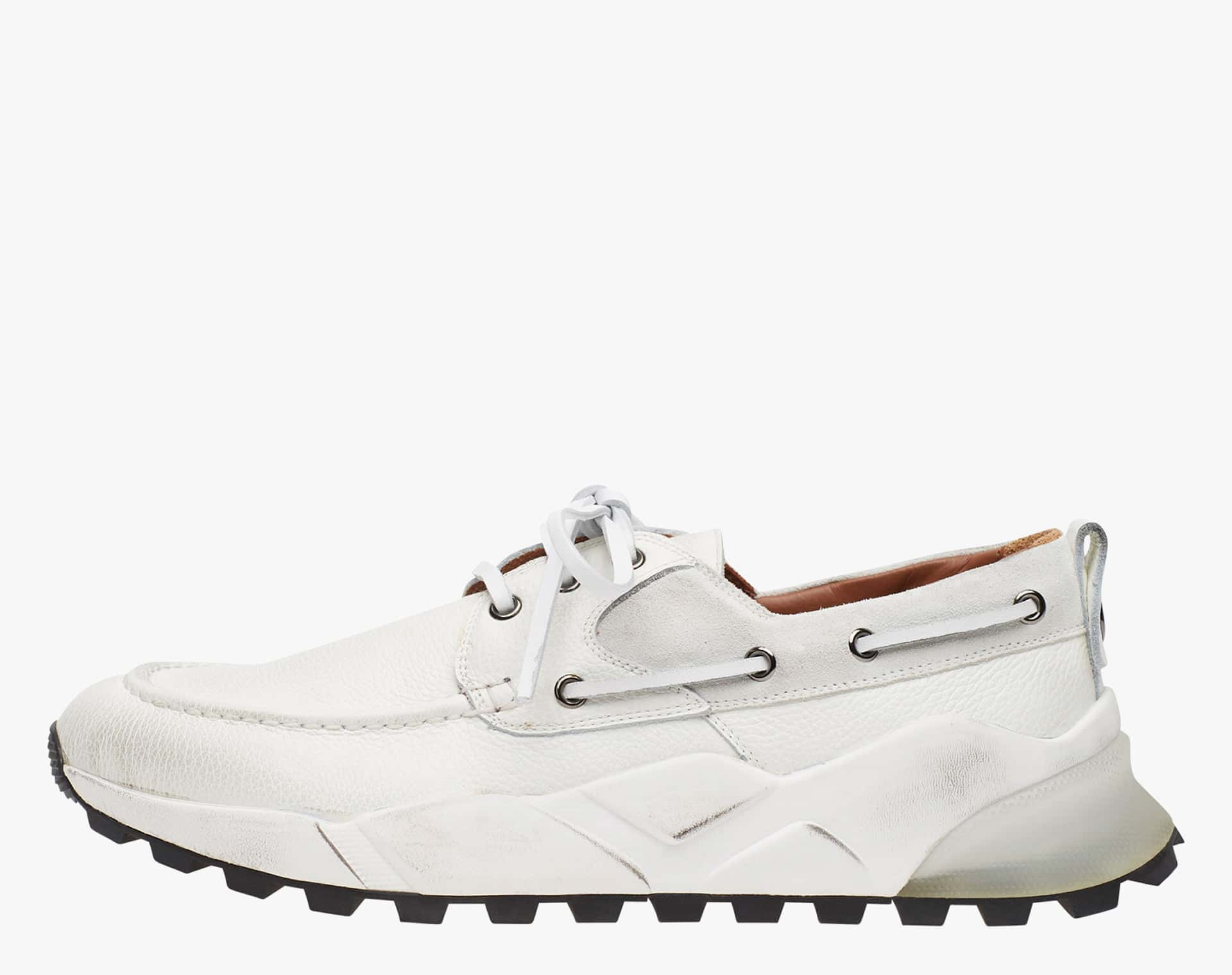 EXTREEMER - Drum dyed calfskin sailor sneakers - White