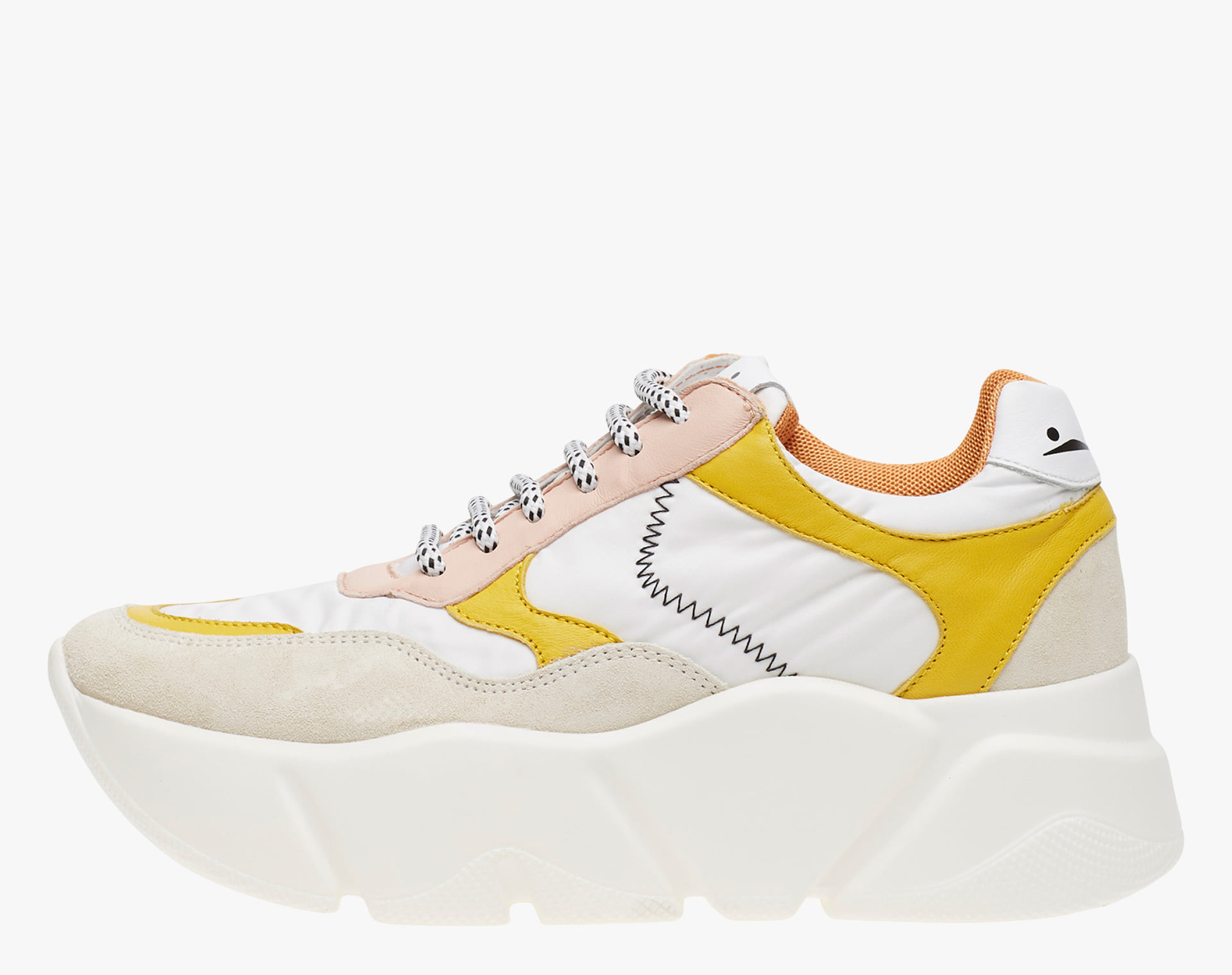 CREEP - Suede and technical fabric sneakers - White-Yellow-Pale pink