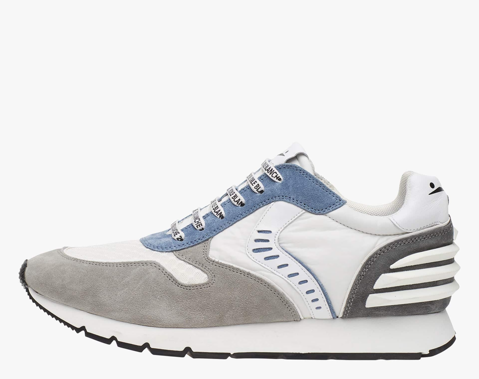 LIAM POWER II - Suede and technical fabric sneakers - Grey/White/Jeans