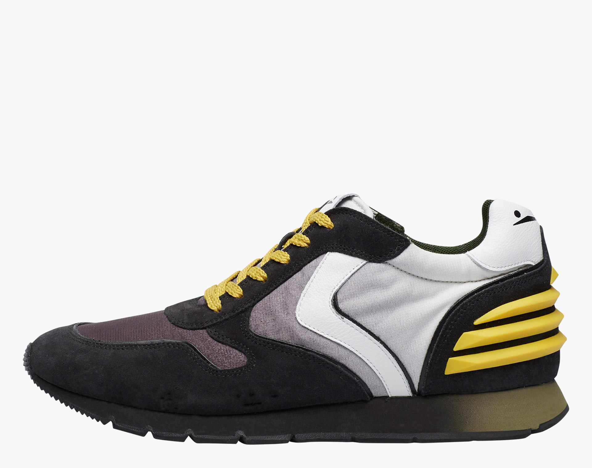 LIAM POWER - Sneaker in suede and degrade' fabric - Black/White