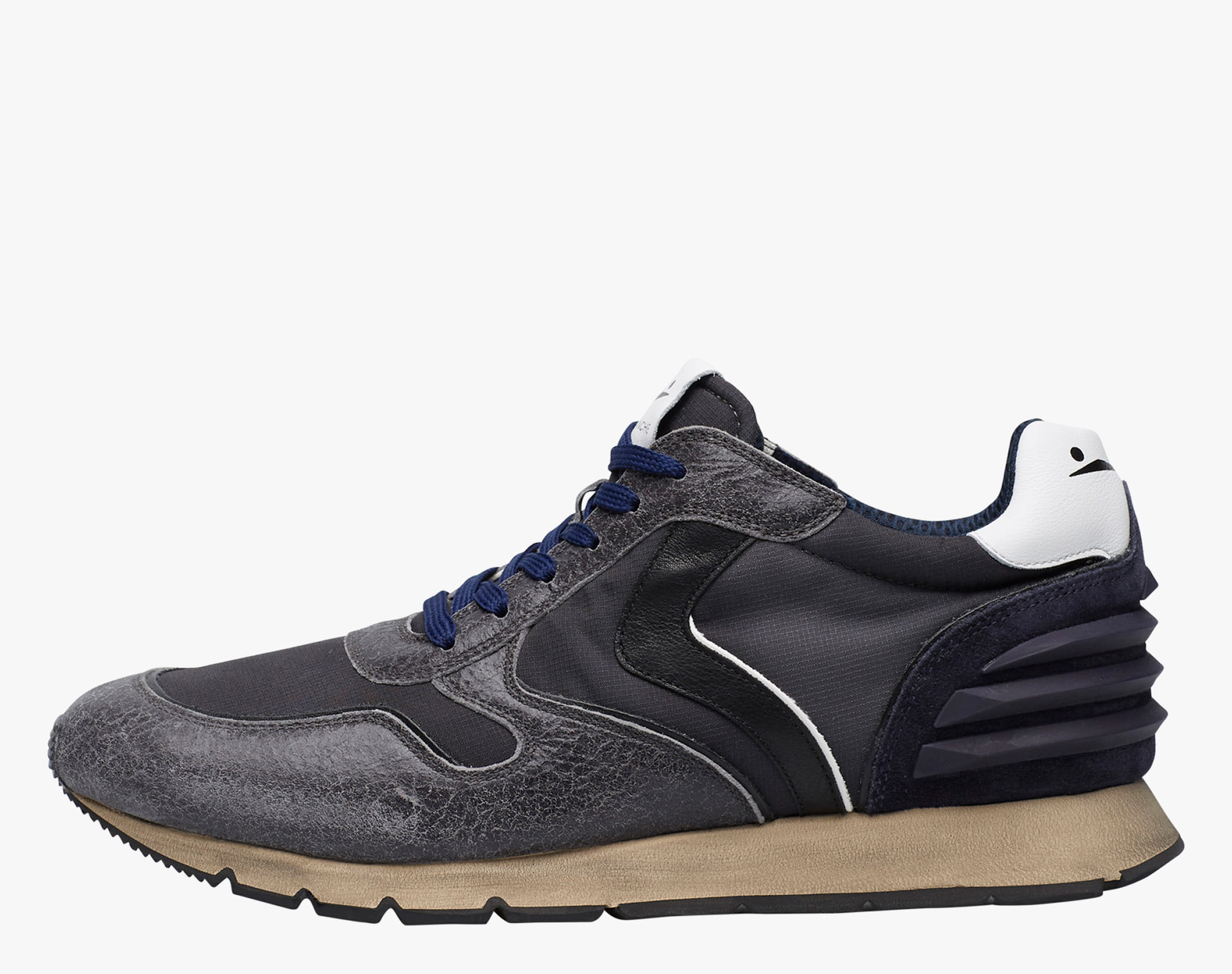 LIAM POWER - Leather and shaded nylon sneaker - Anthracite/Black/Blue