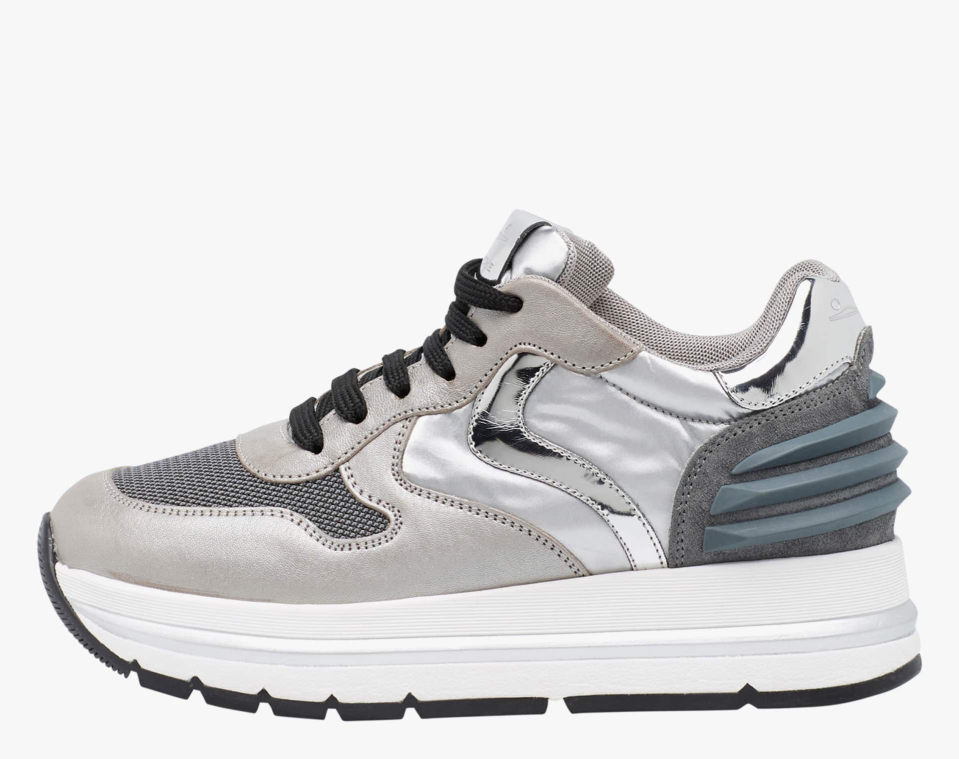 MARAN POWER - Leather and cordura sneaker - Grey/Silver