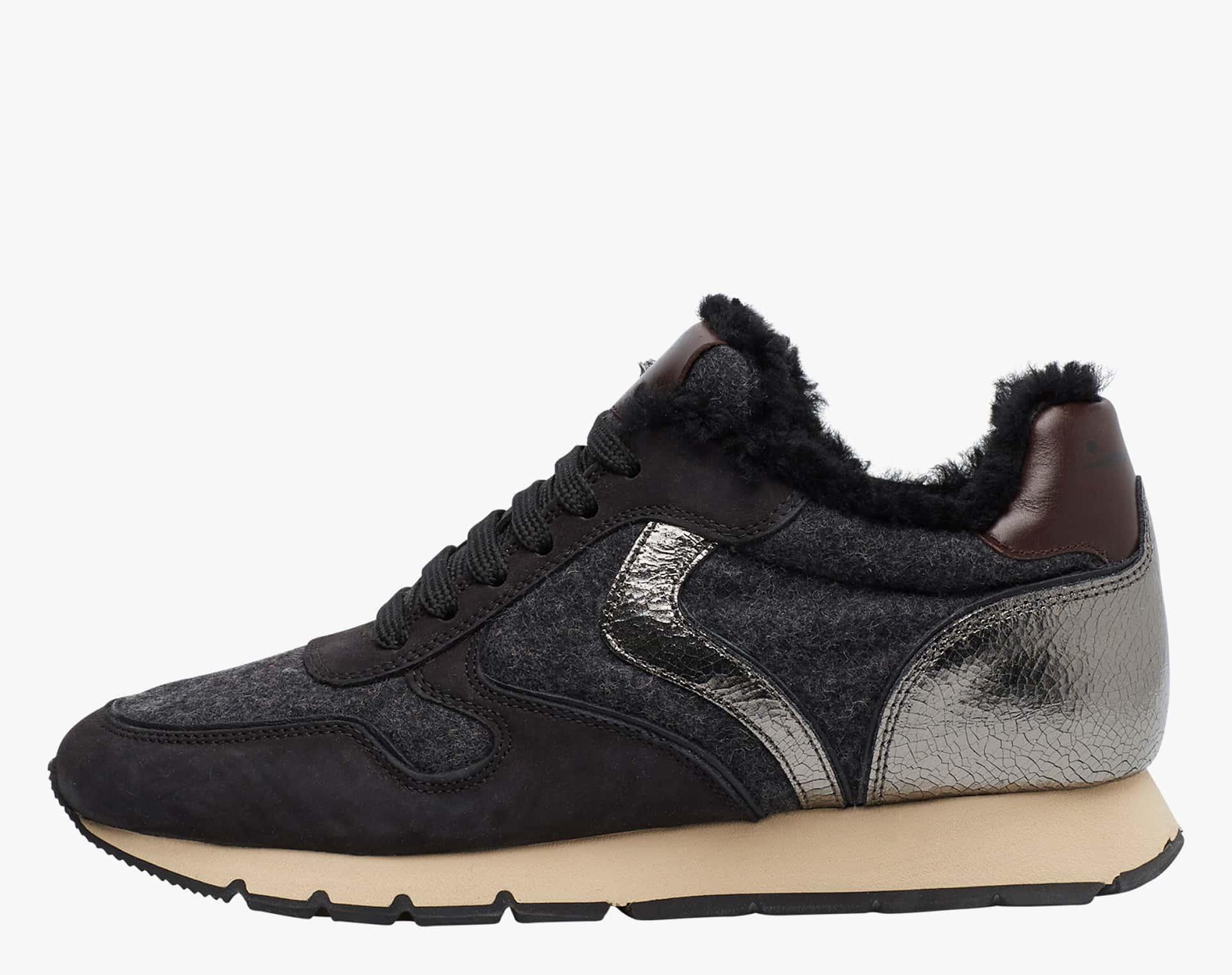 JULIA FUR - Sheepskin-lined sneakers - Black
