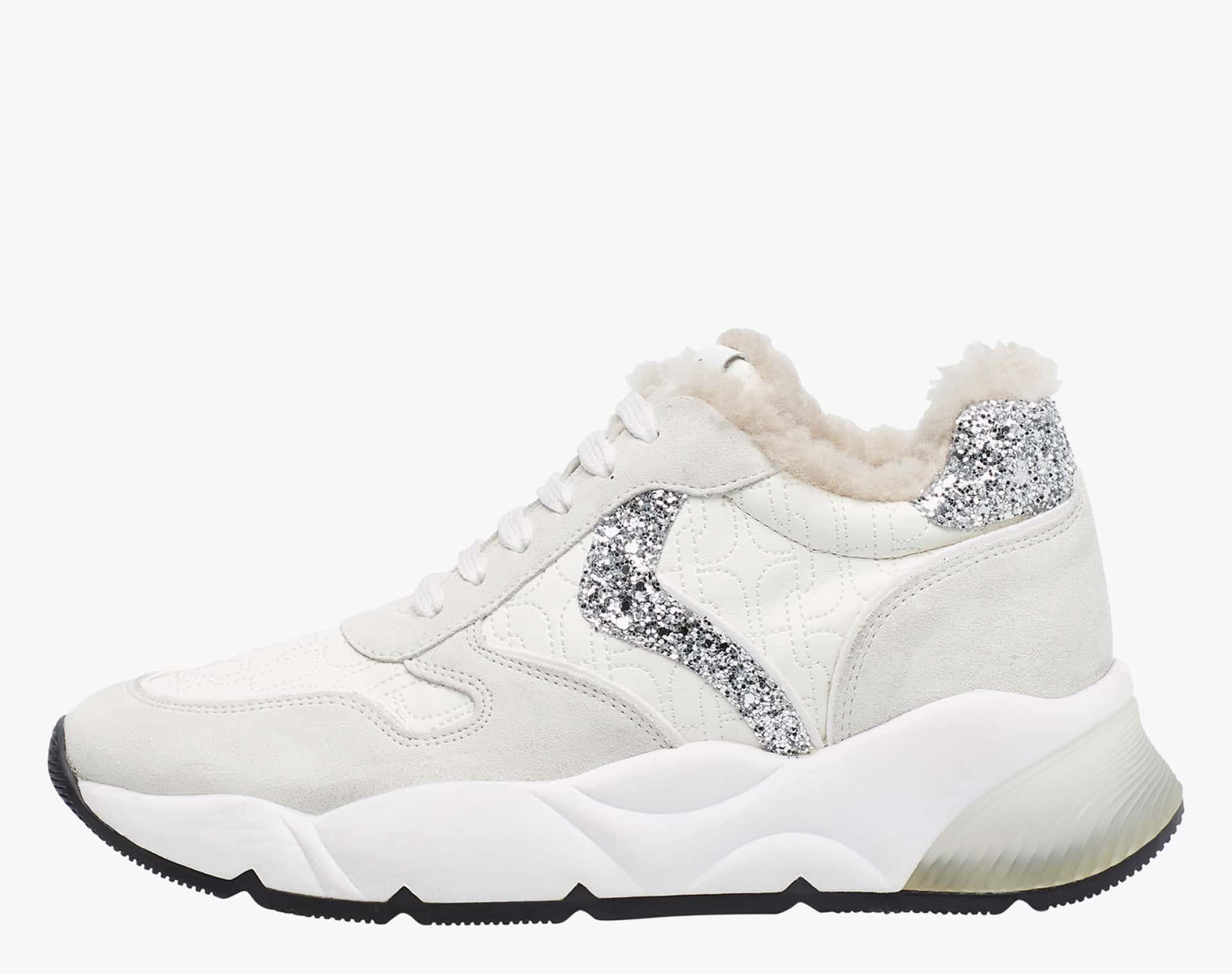 SHEEL FUR - Shearling lined sneaker - White/Silver