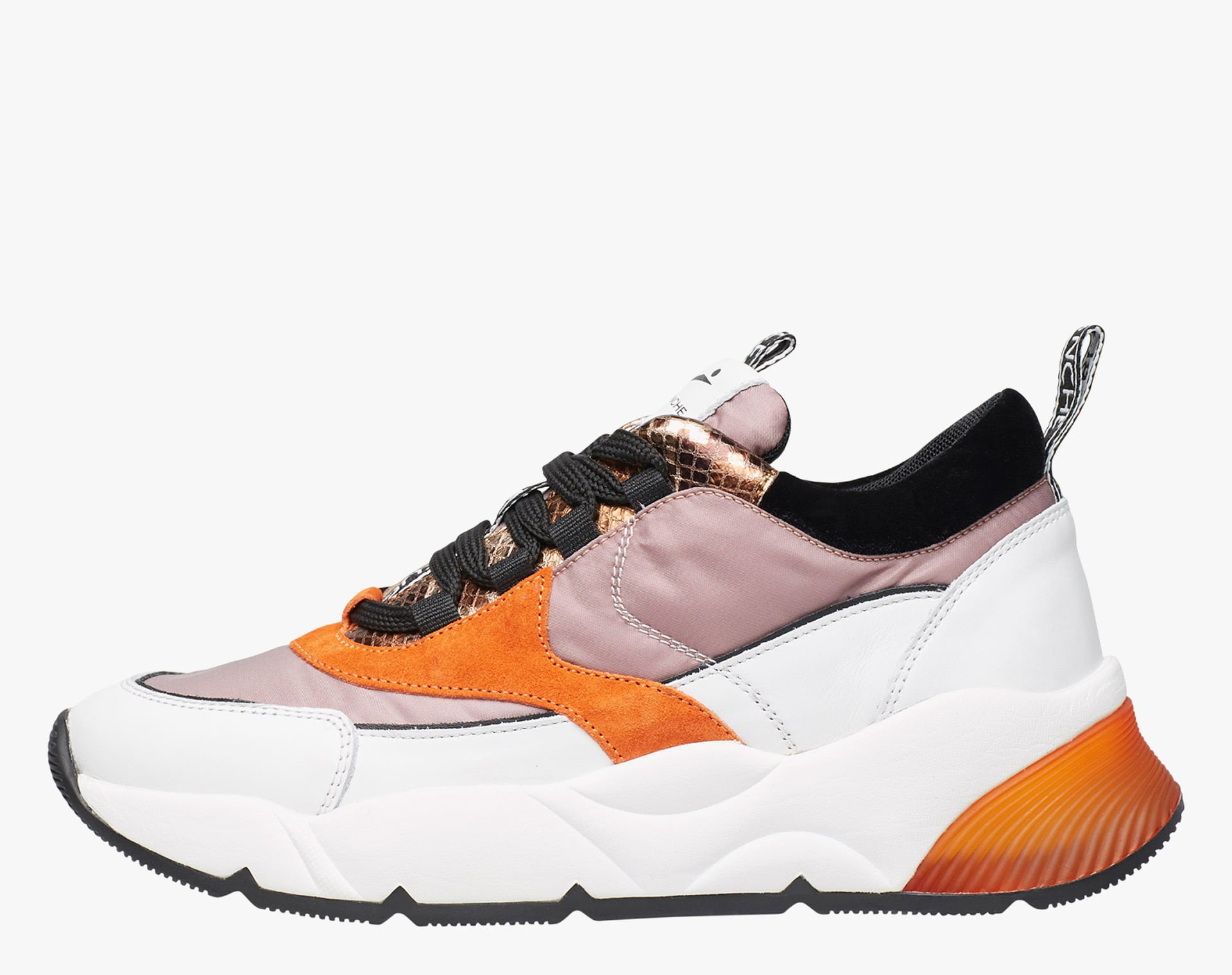 ALEXAS - Sneaker in technical fabric and leather - White/Pink/Black