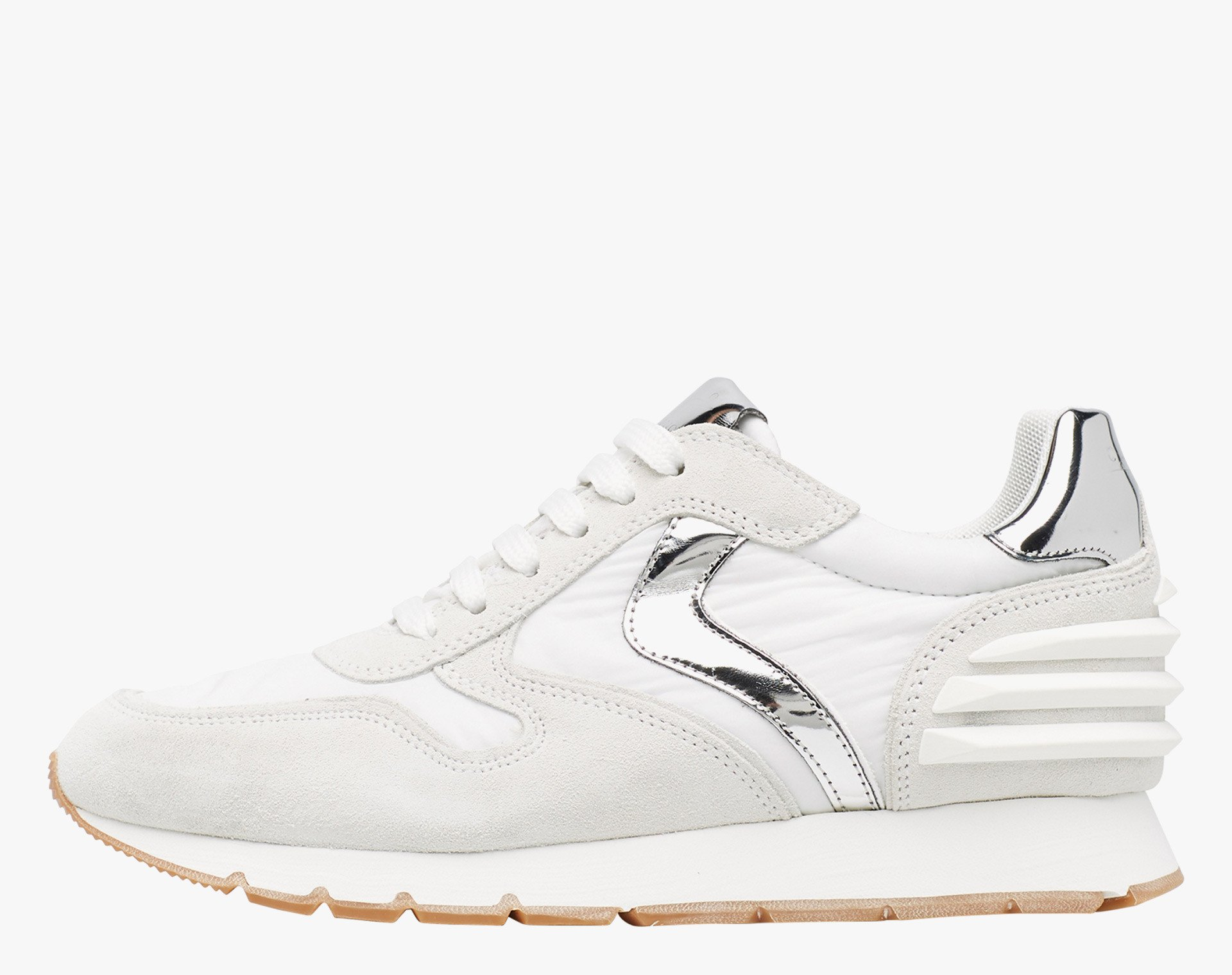 JULIA POWER - Vintage suede sneaker with silver details - White