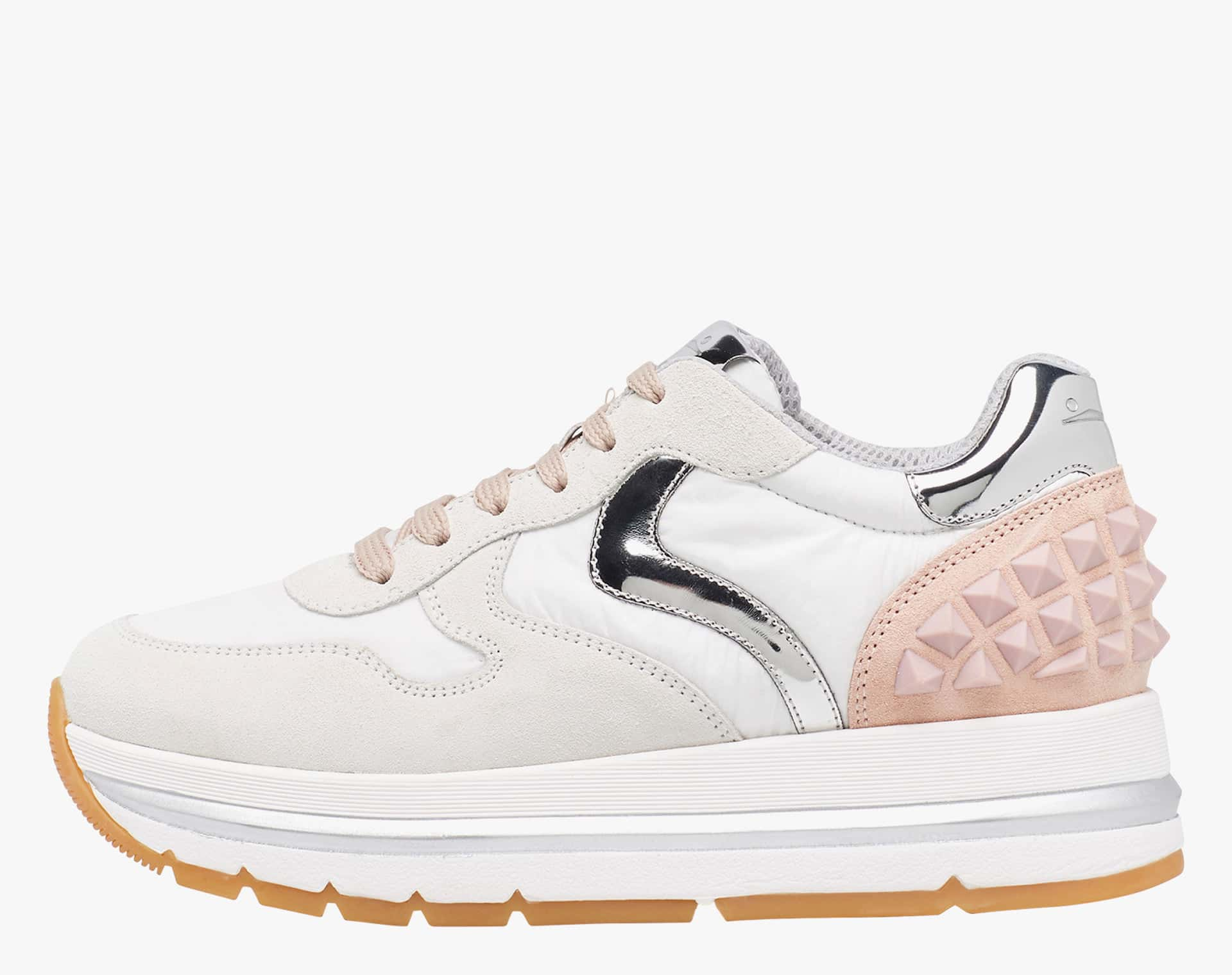 MARAN S - Sneaker in suede and technical fabric - White-Pink