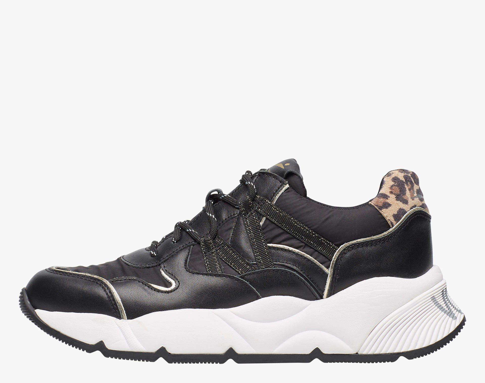 CLUB100 - Leather and technical fabric sneaker with animalier details - Black
