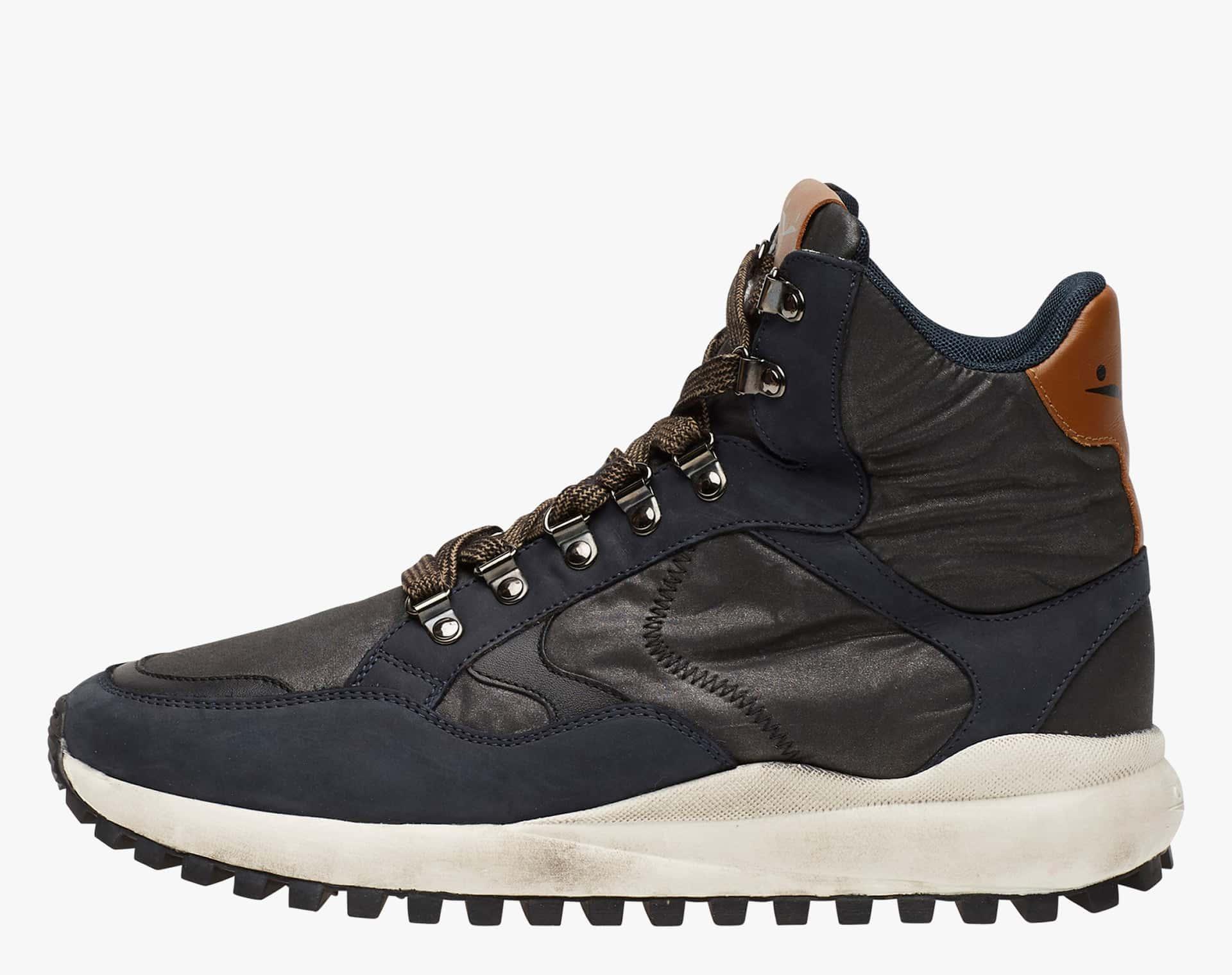 LARRY HIGH HOOK - brushed Nubuck leather - Blue-Black