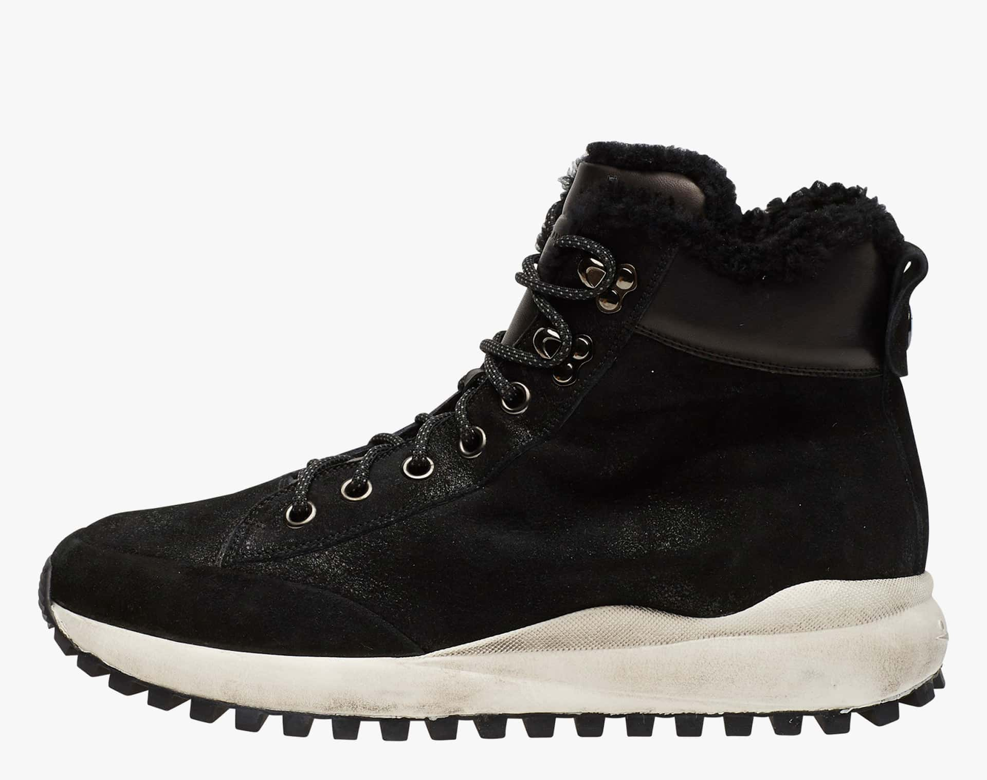 NEW TOM FUR - suede boots - Black