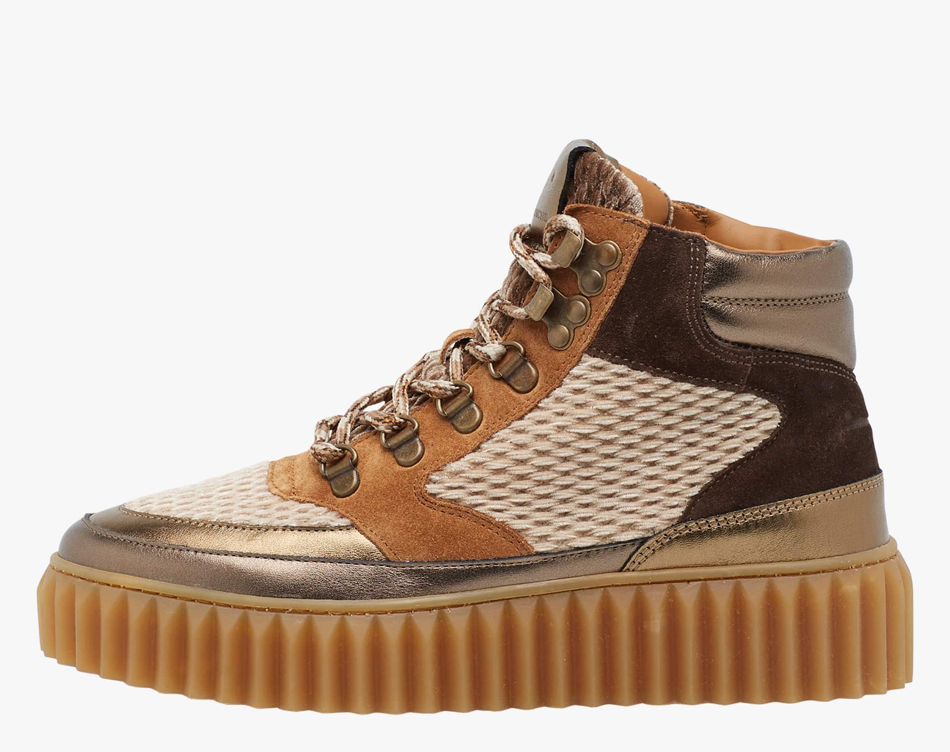 EVA HIKE - Ankle boot in velvet and leather - Multicoloured