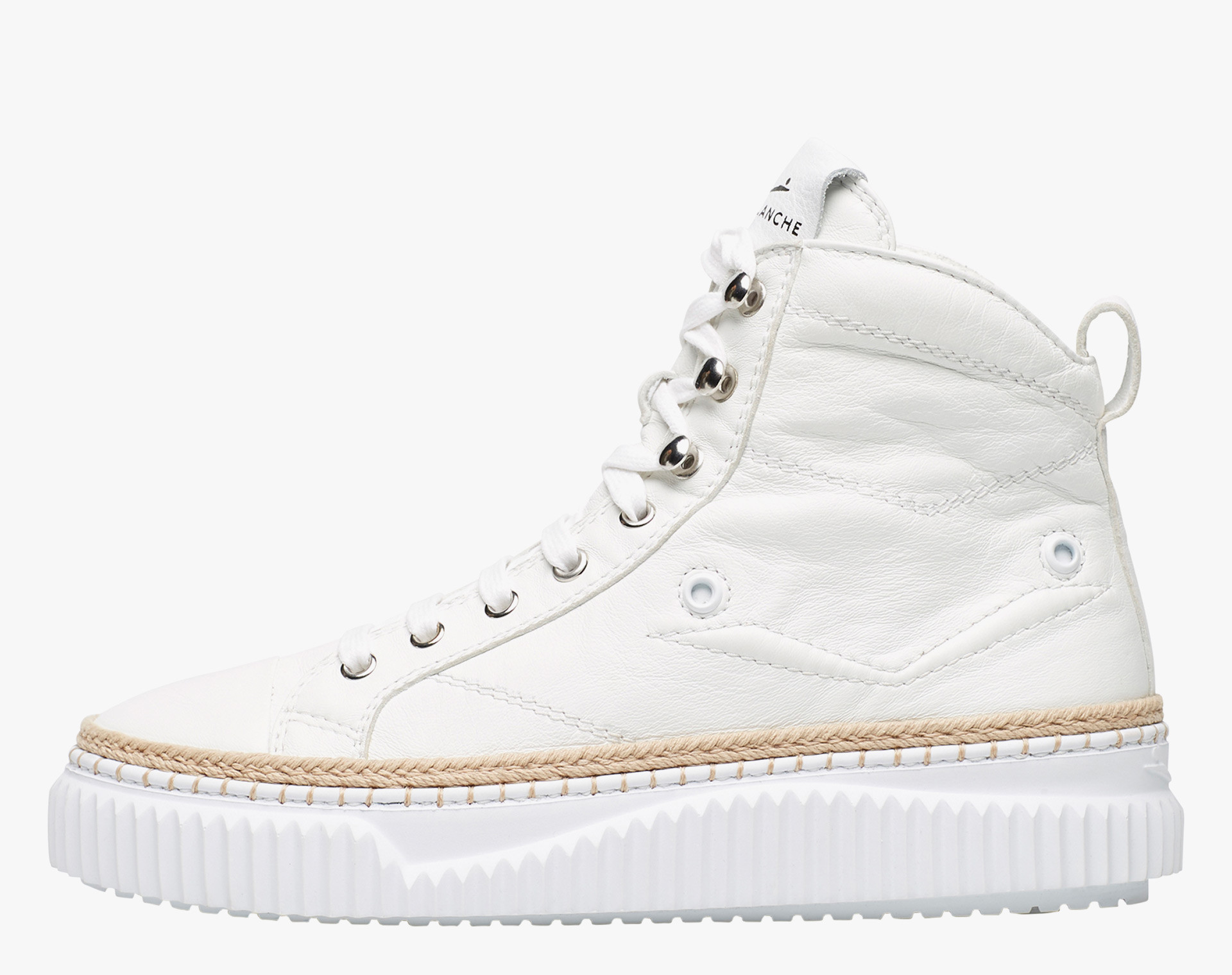 MAIORCA HIGH - High leather sneaker with raffia cord - White