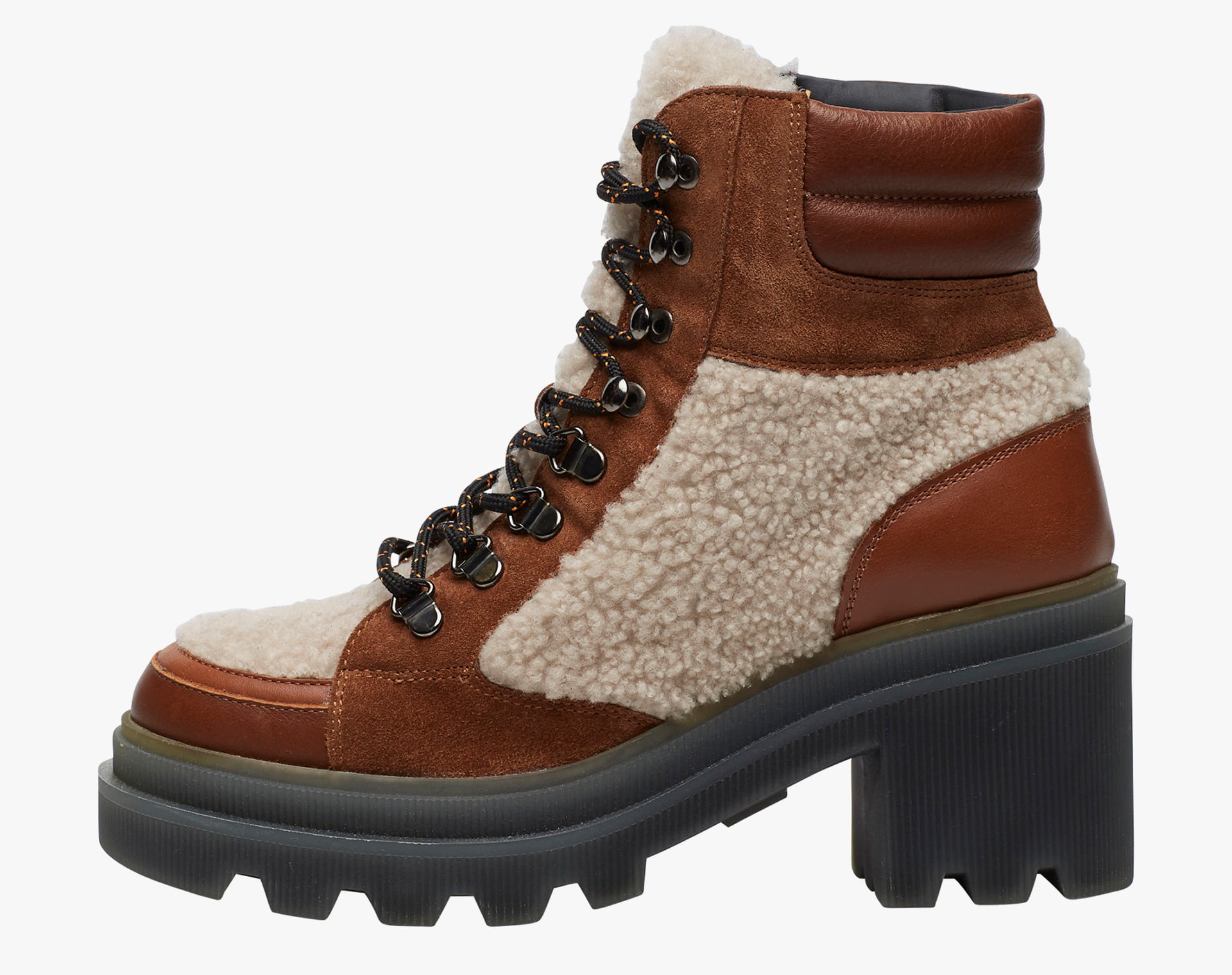 LODEN 003 - Trekking-style ankle boot with heel - Leather/beige