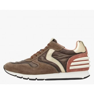JULIA POWER - LEATHER AND FABRIC SNEAKERS - BROWN/PINK