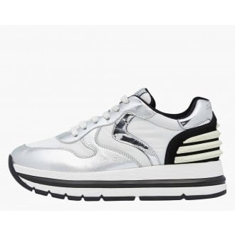 MARAN POWER - Laminated nappa leather and technical fabric sneakers - Silver