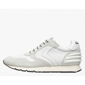 LIAM POWER - Suede and technical nylon sneakers - White
