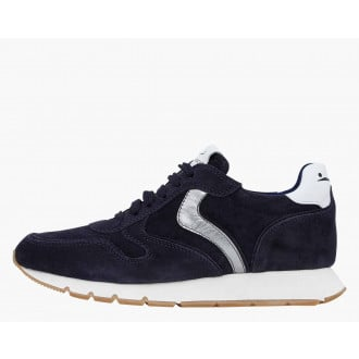 JULIA - Suede sneakers with a metallic profile - Navy