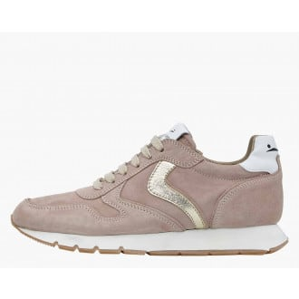JULIA - Suede sneakers with a metallic profile - Dusty pink