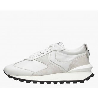 QWARK WOMAN - Calfskin and suede sneakers - Ice