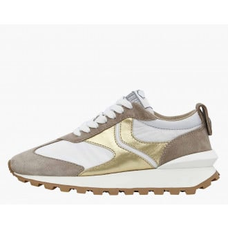 QWARK WOMAN - Suede and technical nylon sneakers - Grey/White