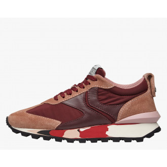 QWARK WOMAN - Technical fabric and suede sneakers - Pink