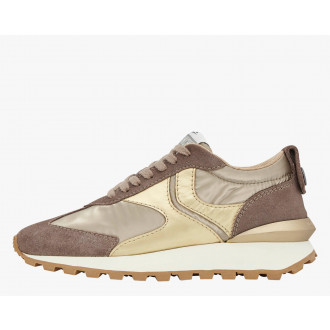 QWARK WOMAN - Coated fabric and suede sneakers - Grey/Platinum